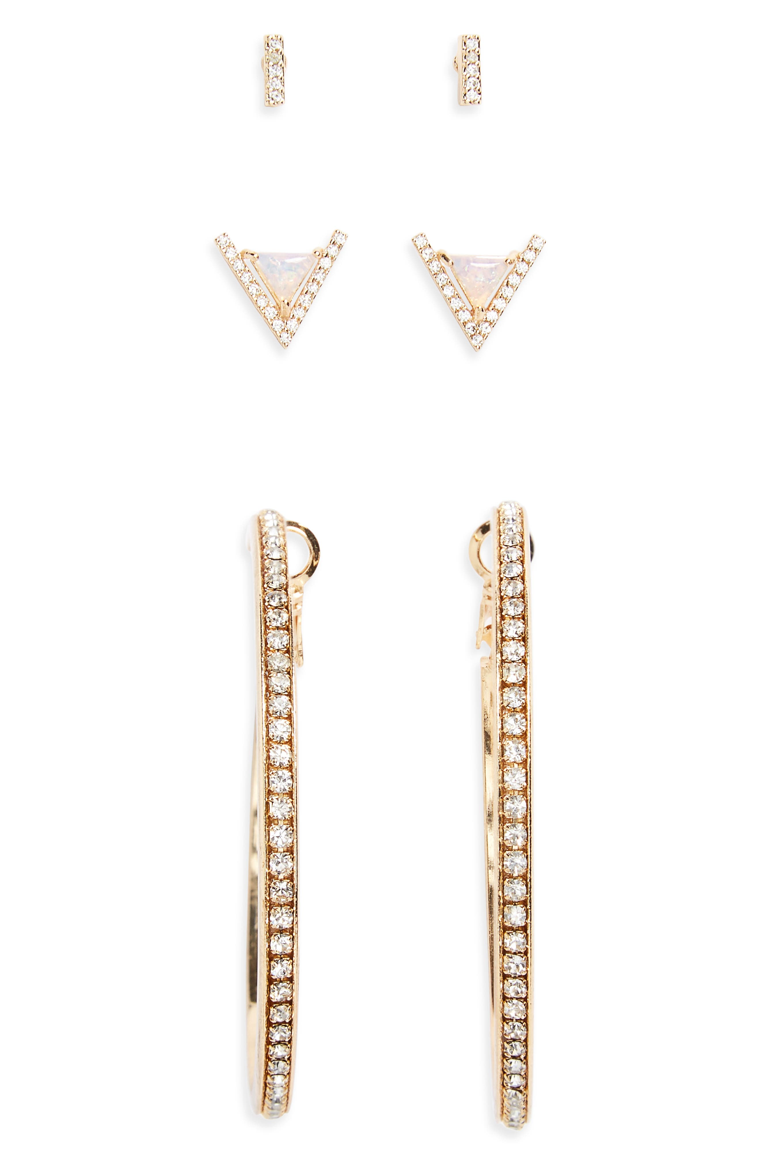 Crystal & Faux Opal 3-Pack Earrings,                             Main thumbnail 1, color,                             Gold