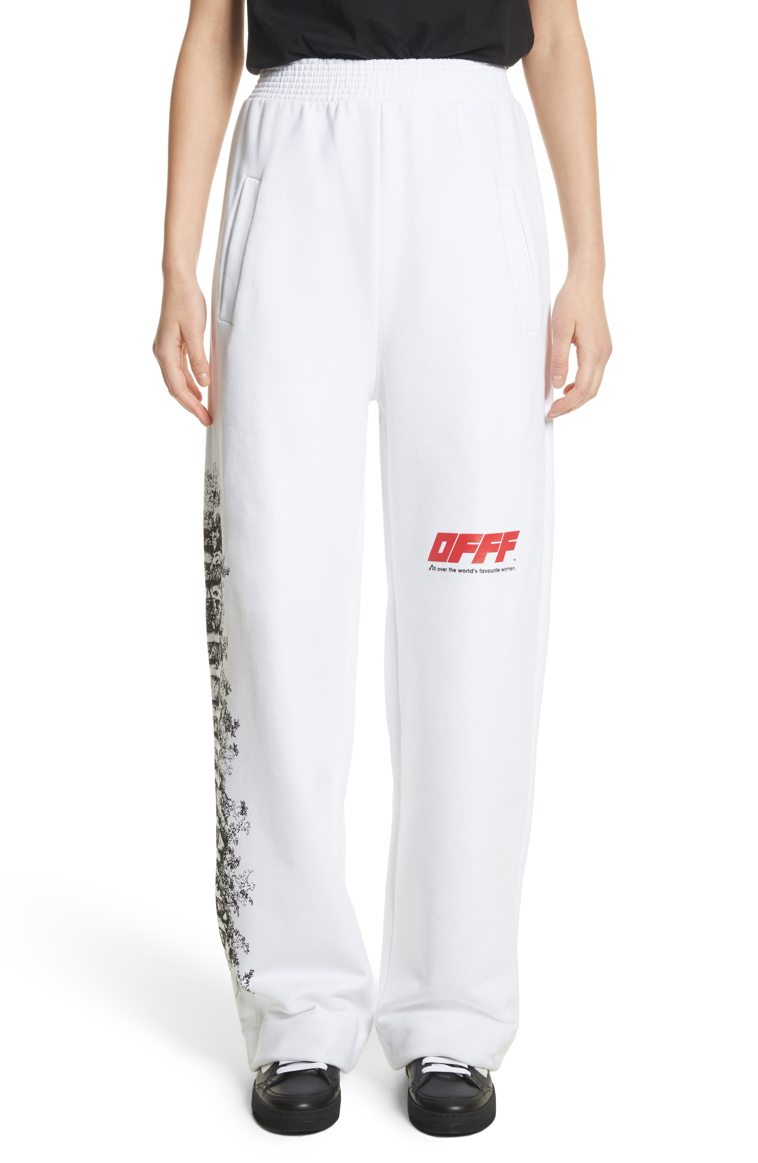 OFFF Sweatpants,                         Main,                         color, White Red