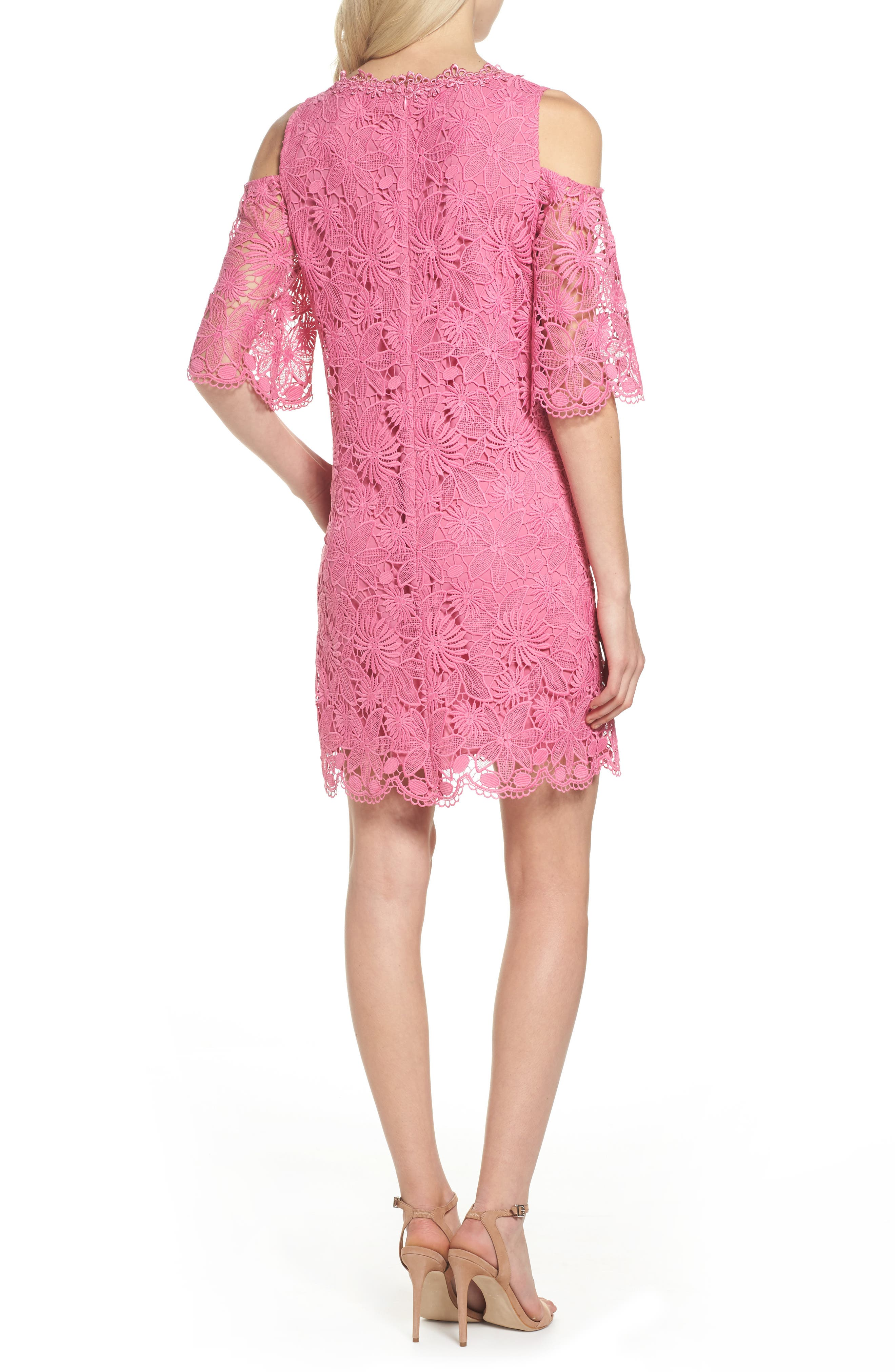 Edna Cold Shoulder Lace Dress,                             Alternate thumbnail 2, color,                             Tulip