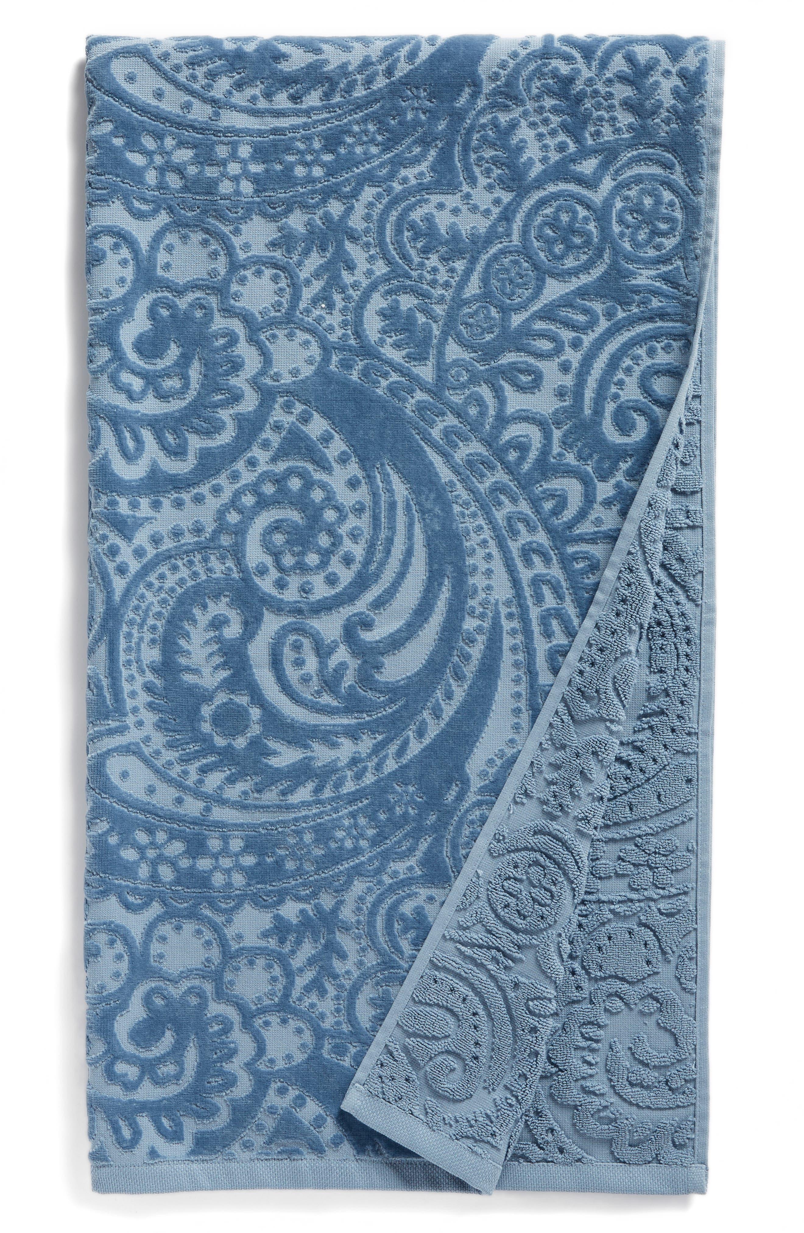 Elisa Turkish Cotton Bath Towel,                         Main,                         color, Blue Chambray