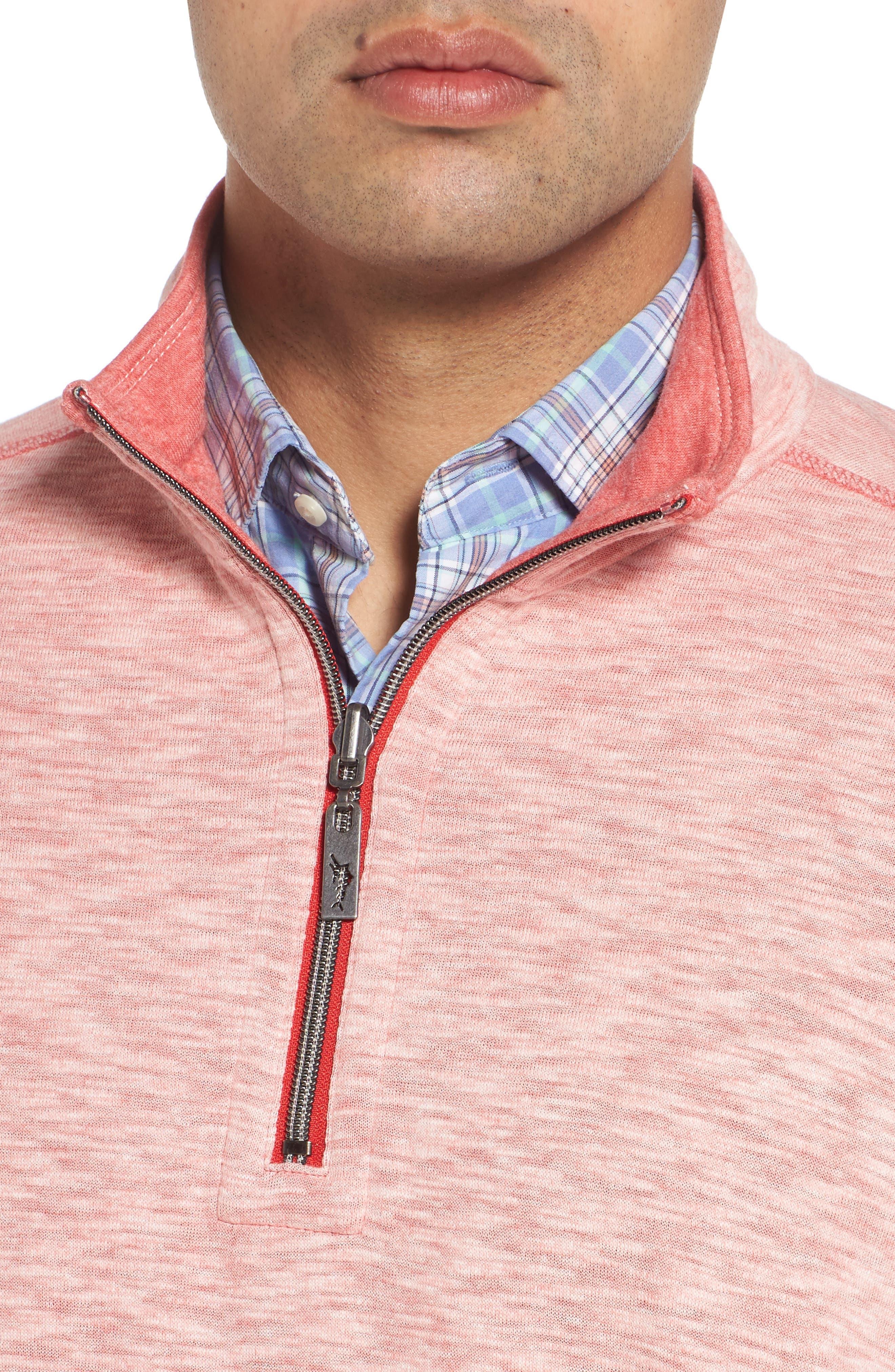 Sea Glass Reversible Quarter Zip Pullover,                             Alternate thumbnail 5, color,                             Ribbon Red
