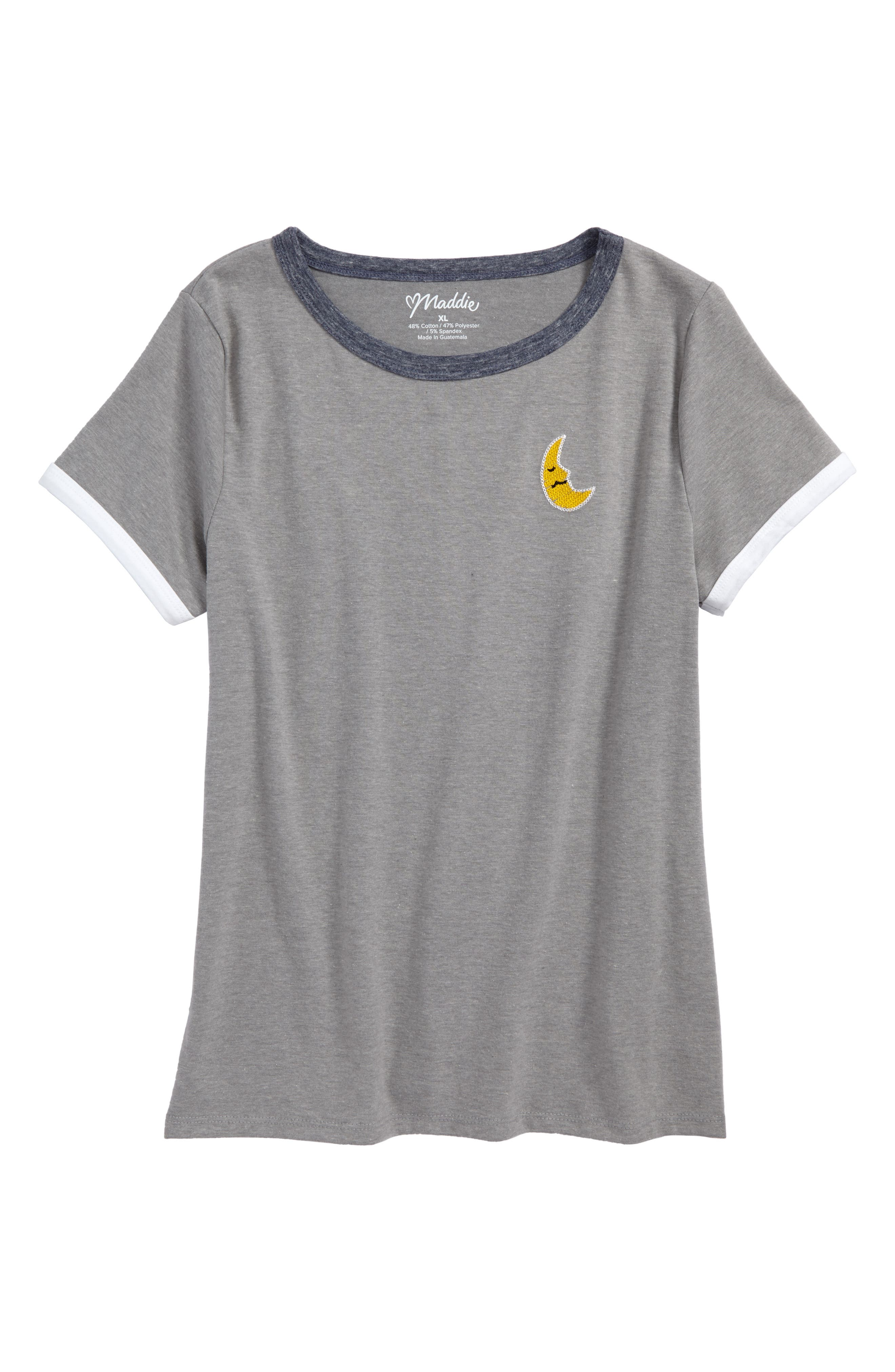 Embroidered Tee,                         Main,                         color, Grey