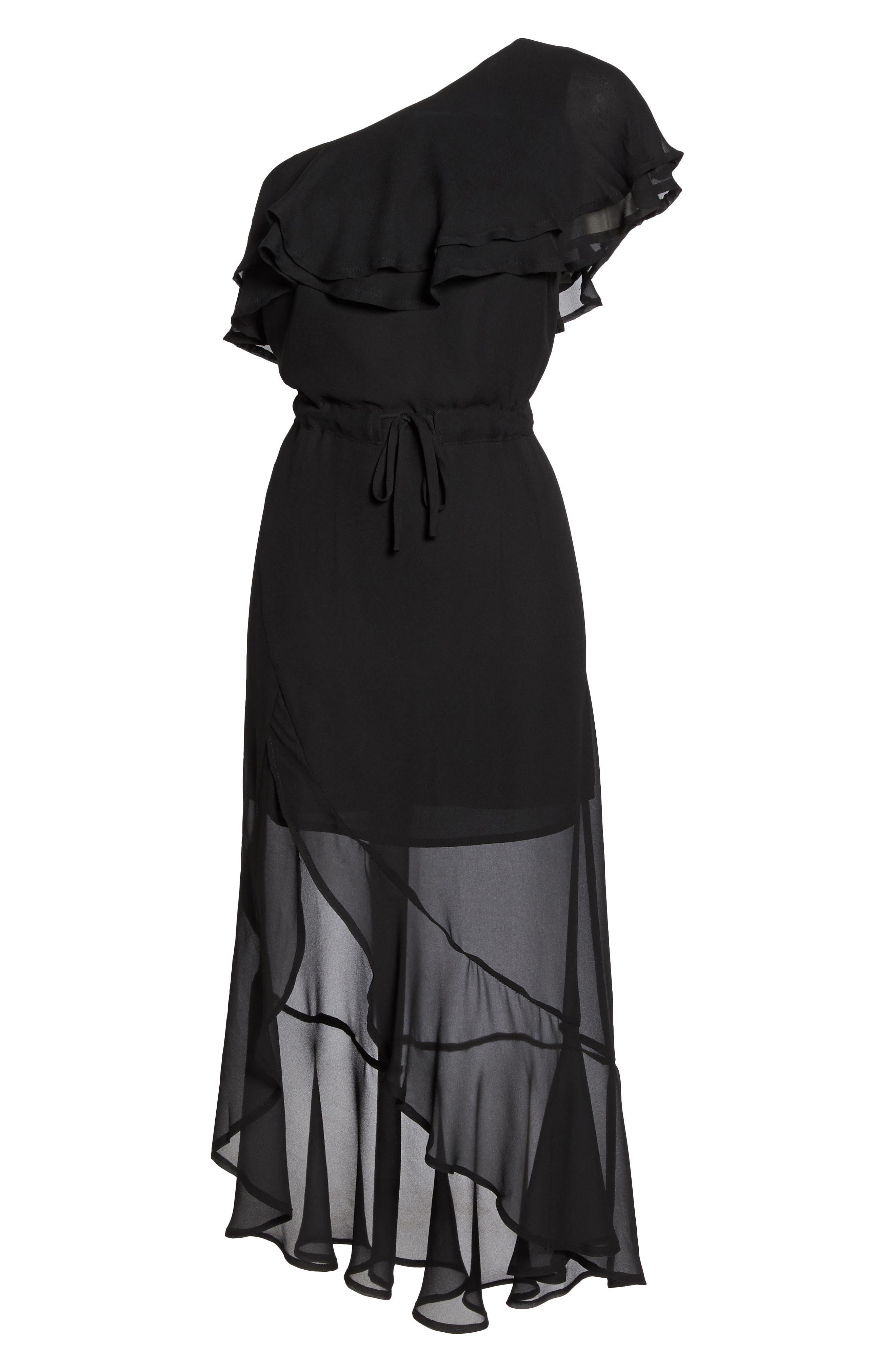 Kayla One-Shoulder Maxi Dress,                             Alternate thumbnail 6, color,                             Black