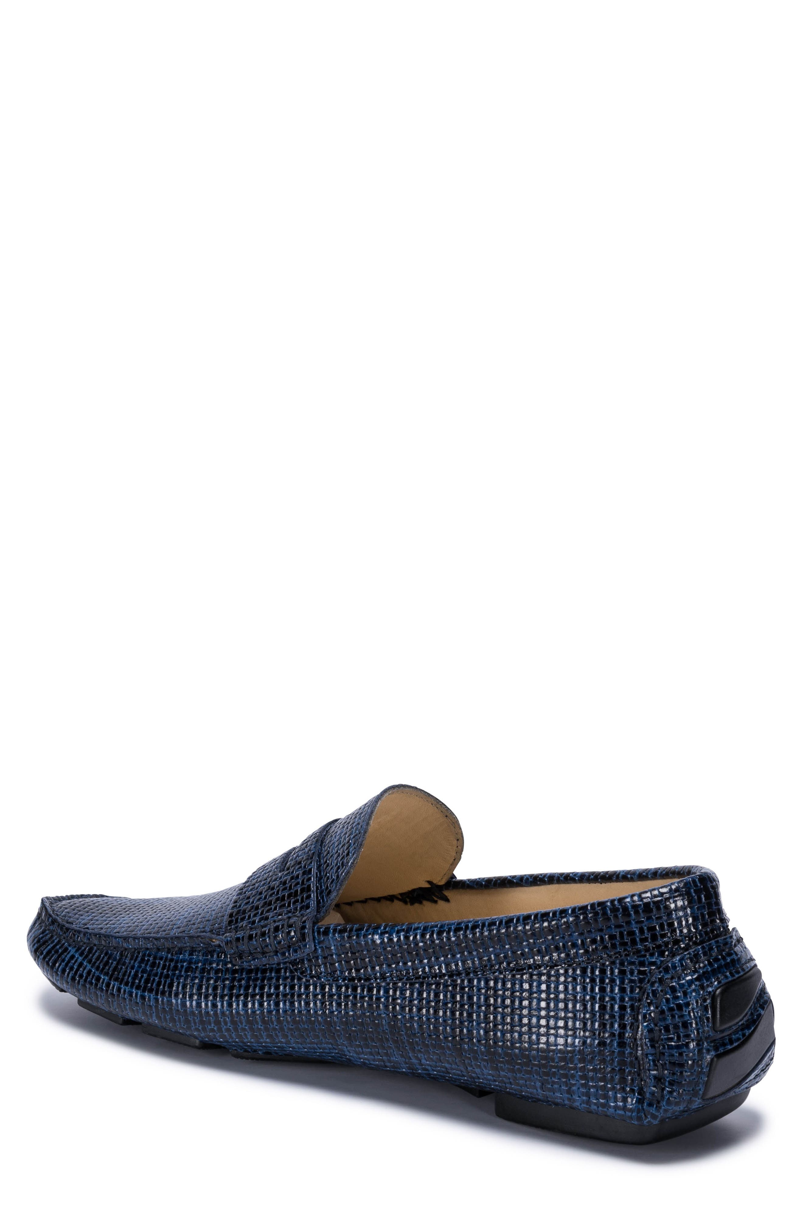 Montalcino Driving Penny Loafer,                             Alternate thumbnail 2, color,                             Blue Leather