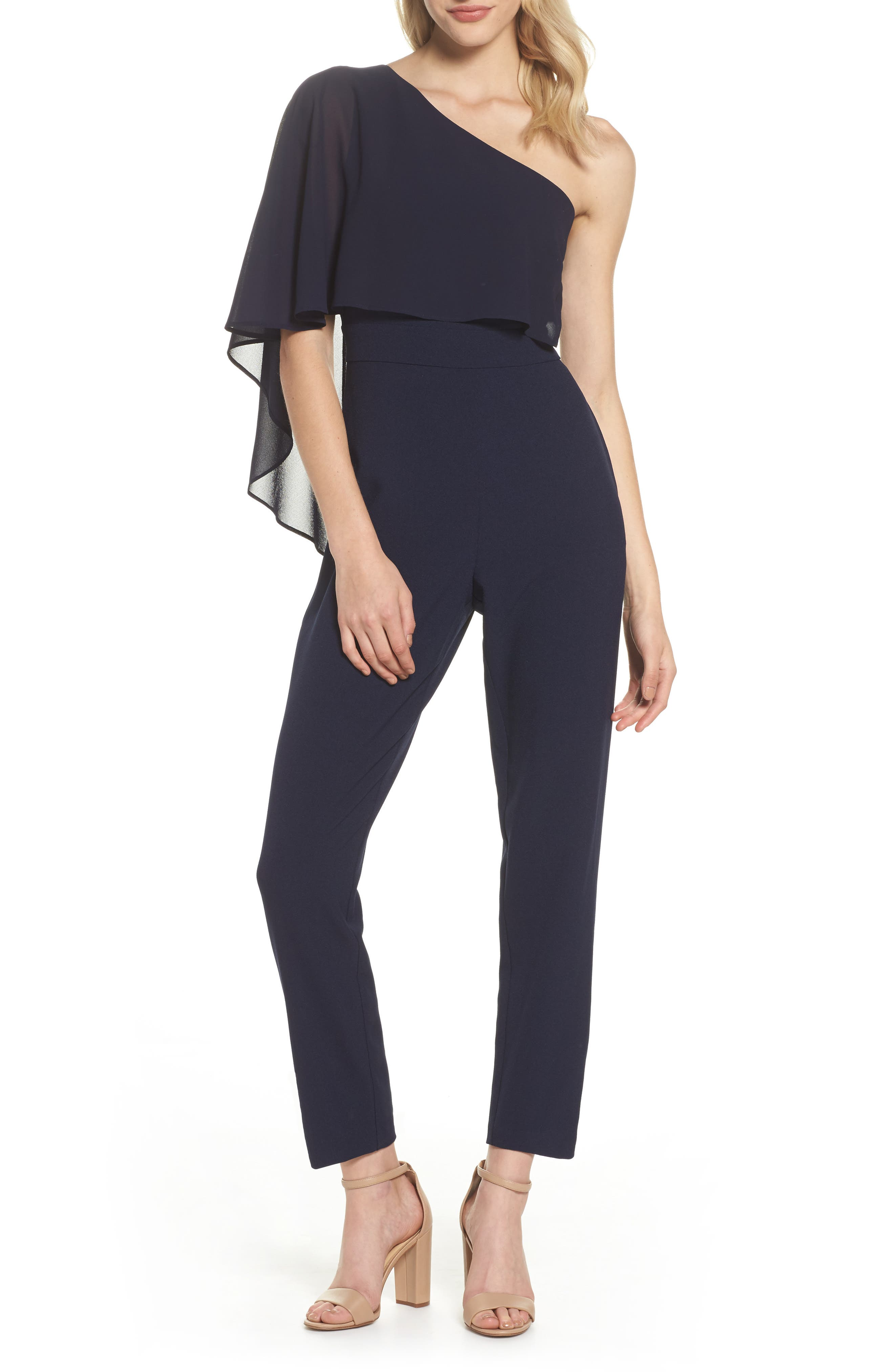 Cape Overlay One-Shoulder Jumpsuit,                         Main,                         color, Navy
