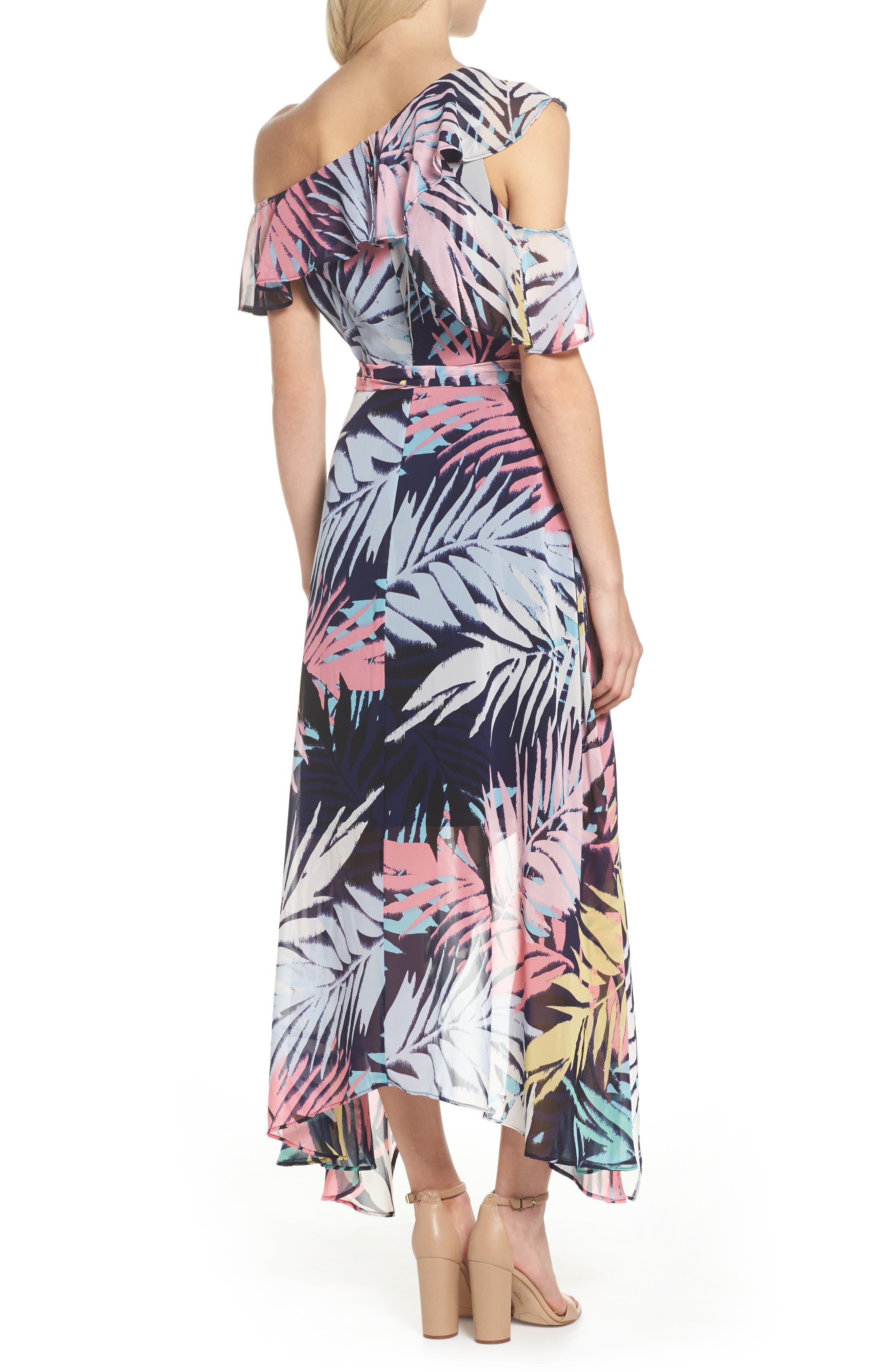 Asymmetrical Neck Maxi Dress,                             Alternate thumbnail 2, color,                             Navy Multi