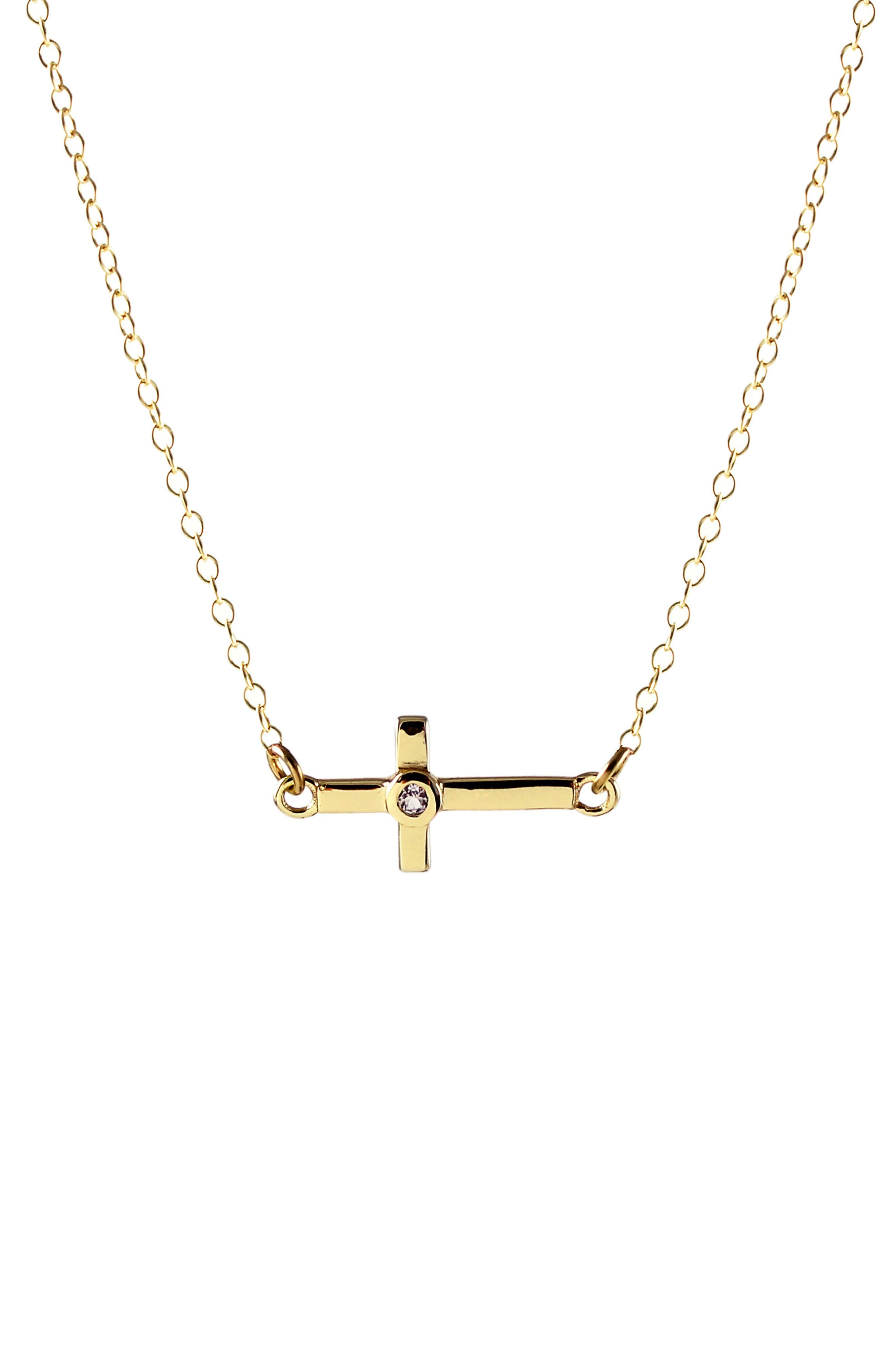 Main Image - Kris Nations Stone Cross Charm Necklace