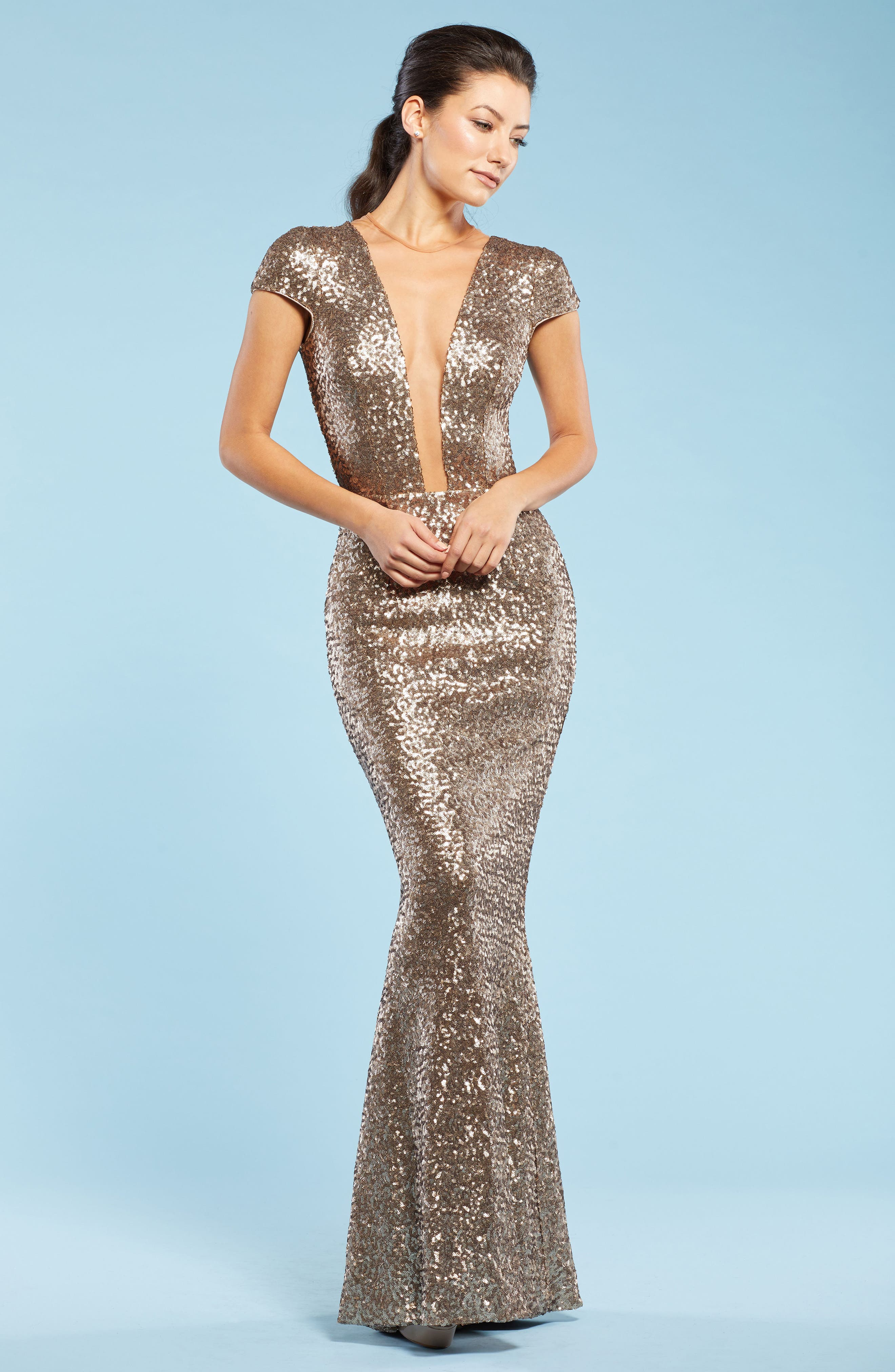 Michelle Sequin Gown,                             Alternate thumbnail 2, color,                             Brass