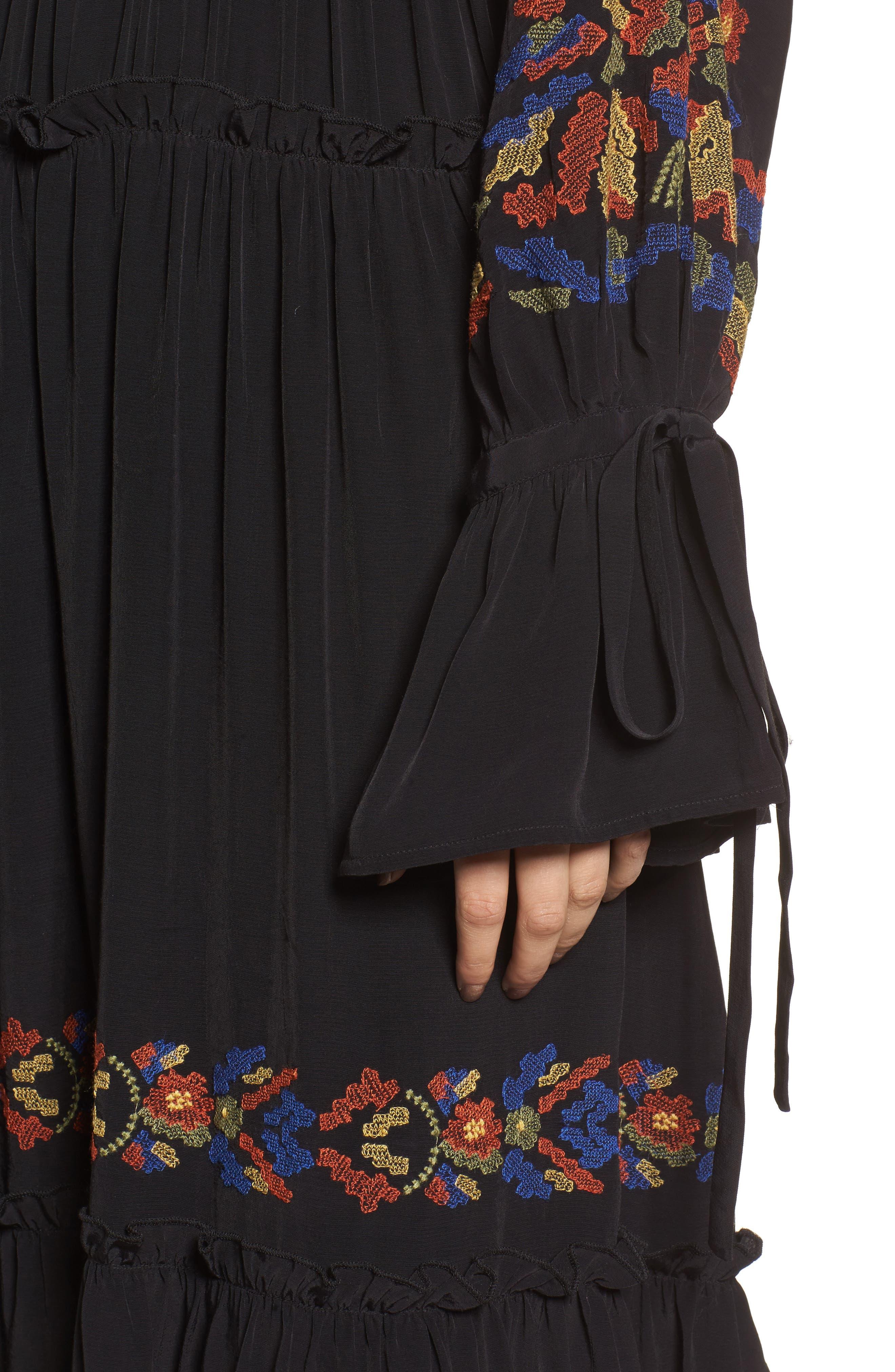 Embroidered Midi Dress,                             Alternate thumbnail 4, color,                             Black Combo