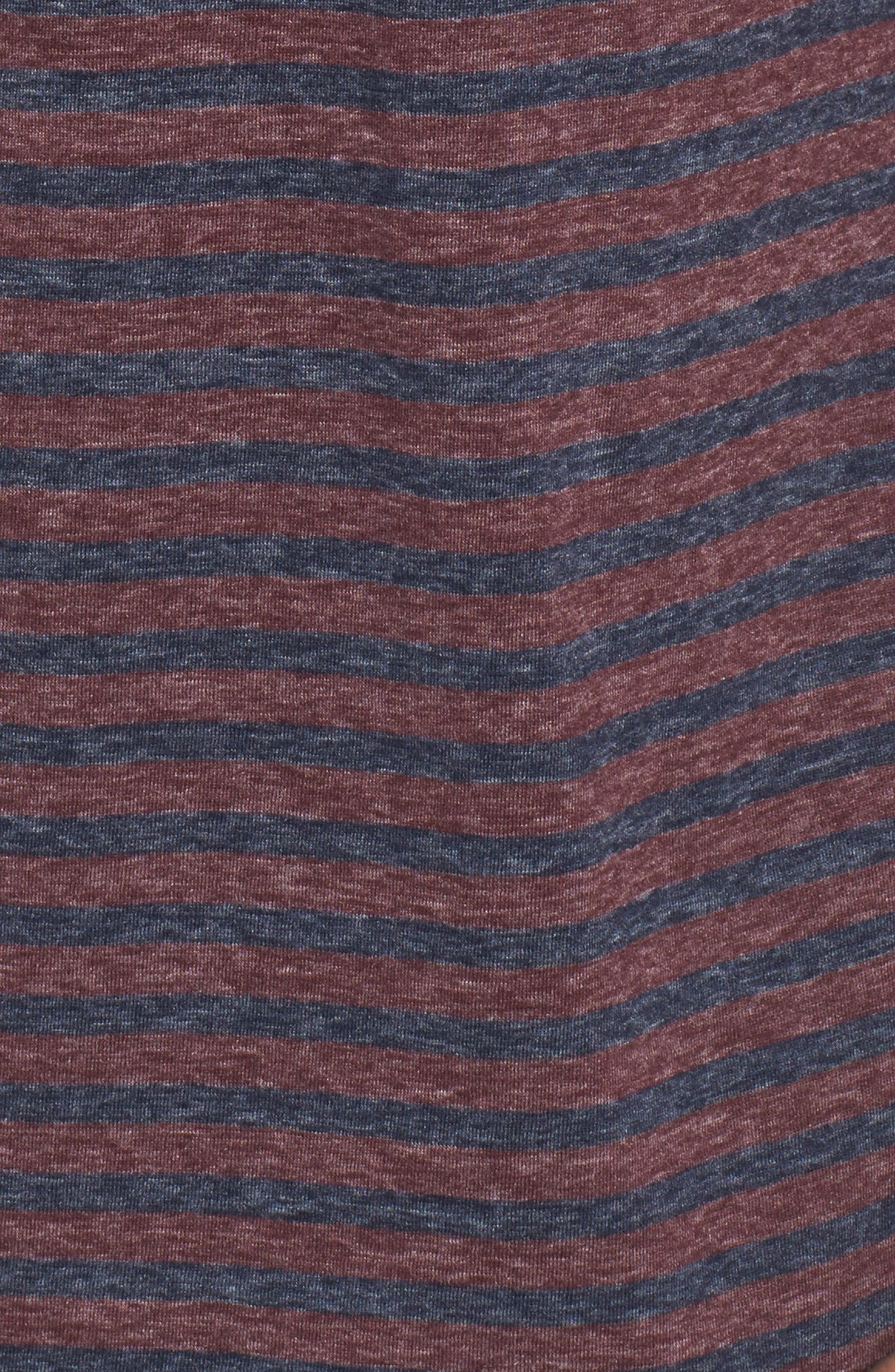 Short Sleeve Recycled Cotton Blend Henley,                             Alternate thumbnail 5, color,                             Blue/ Red