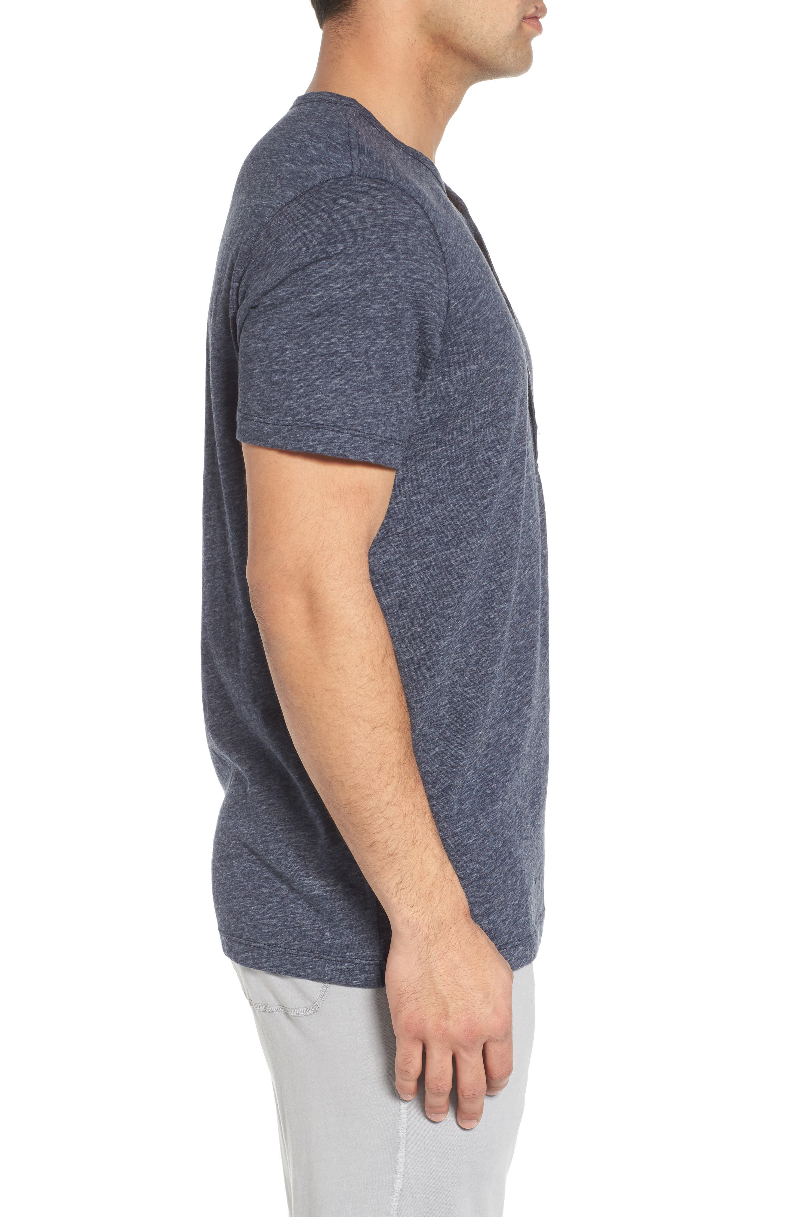 Short Sleeve Recycled Cotton Blend Henley,                             Alternate thumbnail 3, color,                             Navy Heather