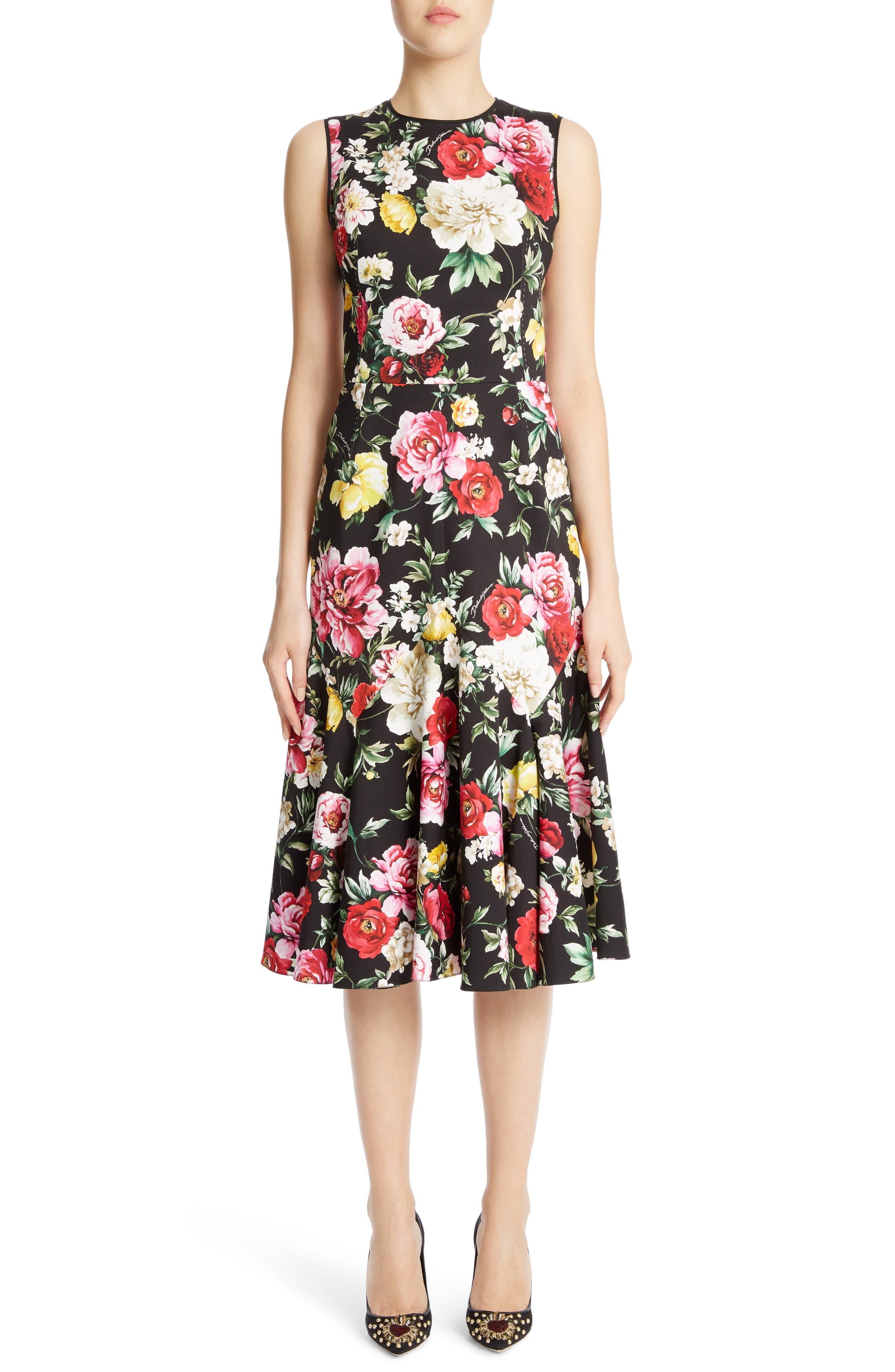 Floral Print Flare Hem Dress,                             Main thumbnail 1, color,                             Black