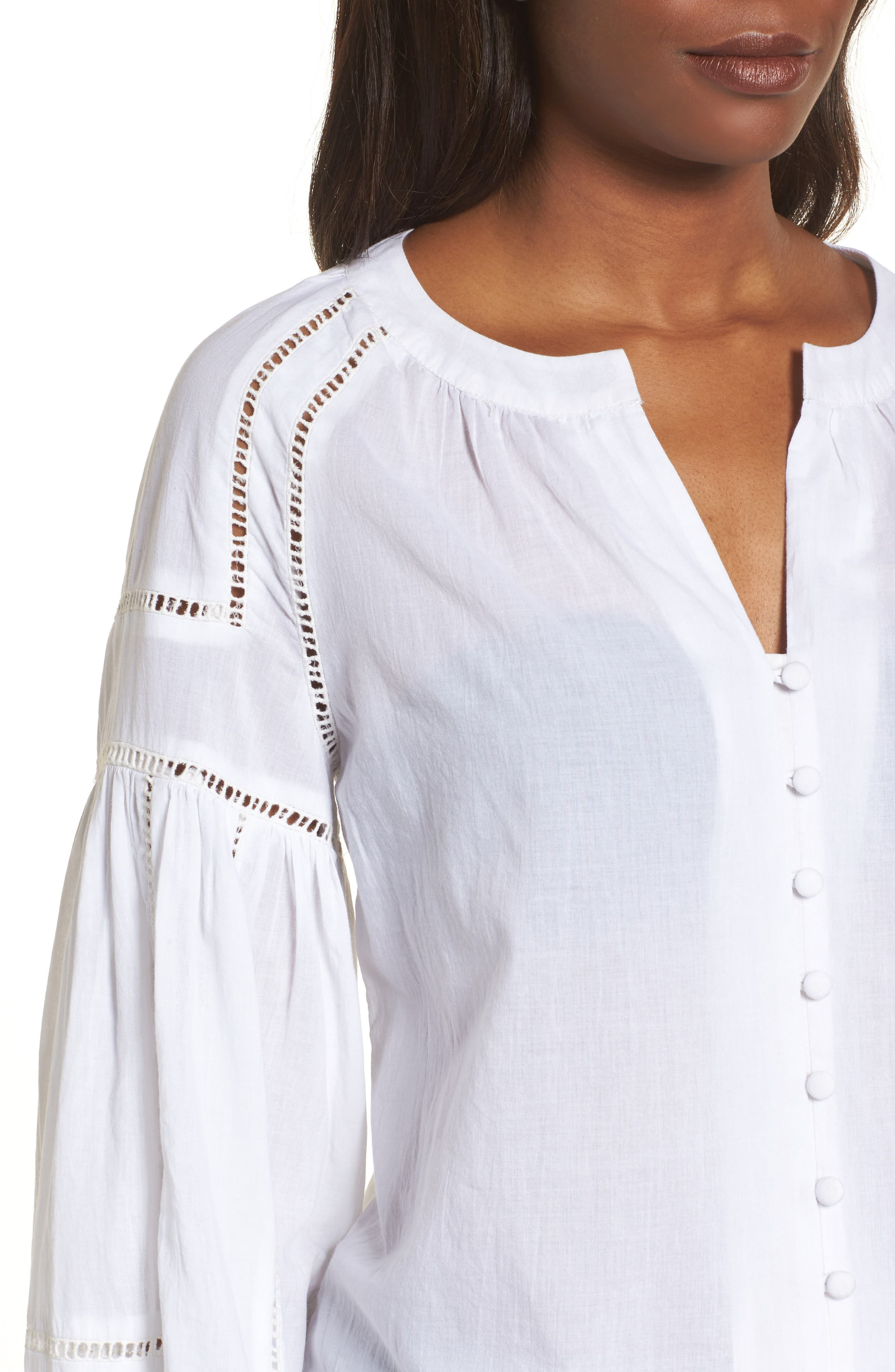 Embroidered Peasant Sleeve Top,                             Alternate thumbnail 4, color,                             White