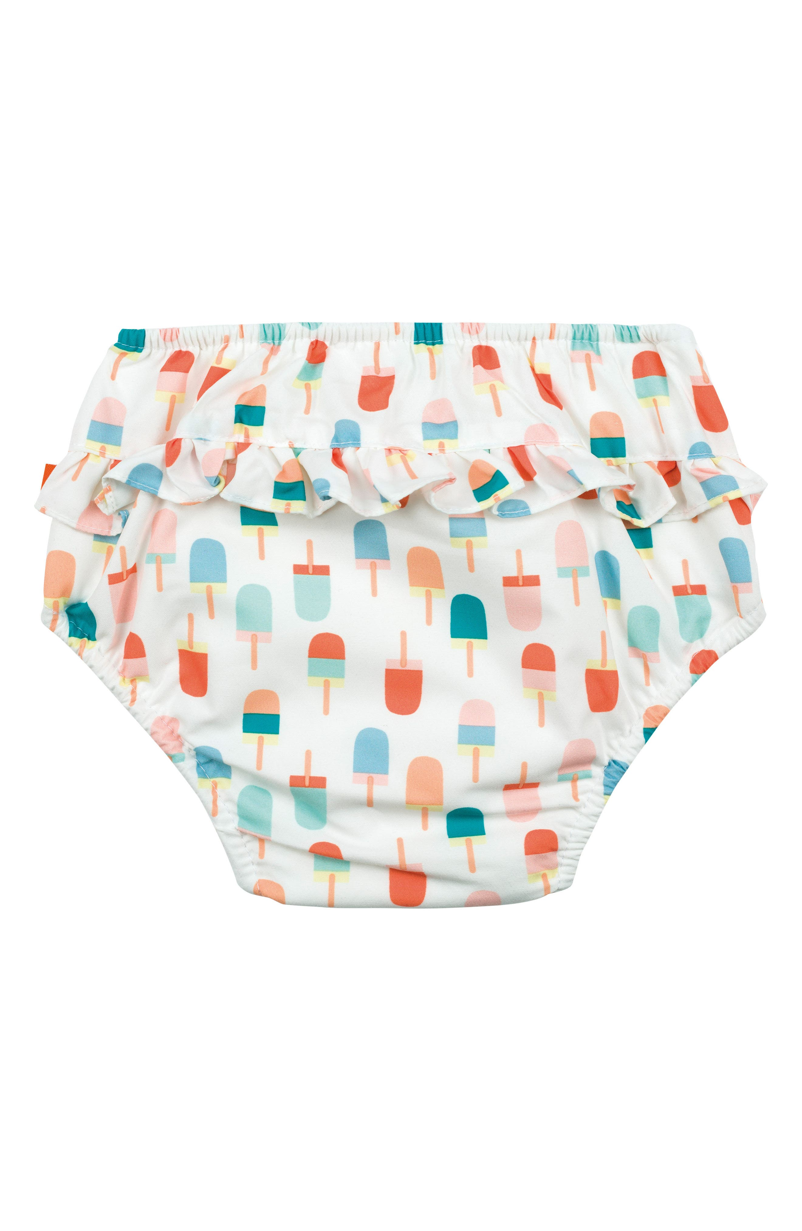 Ice Cream Cone Swim Diaper Cover,                             Alternate thumbnail 3, color,                             White Orange Teal