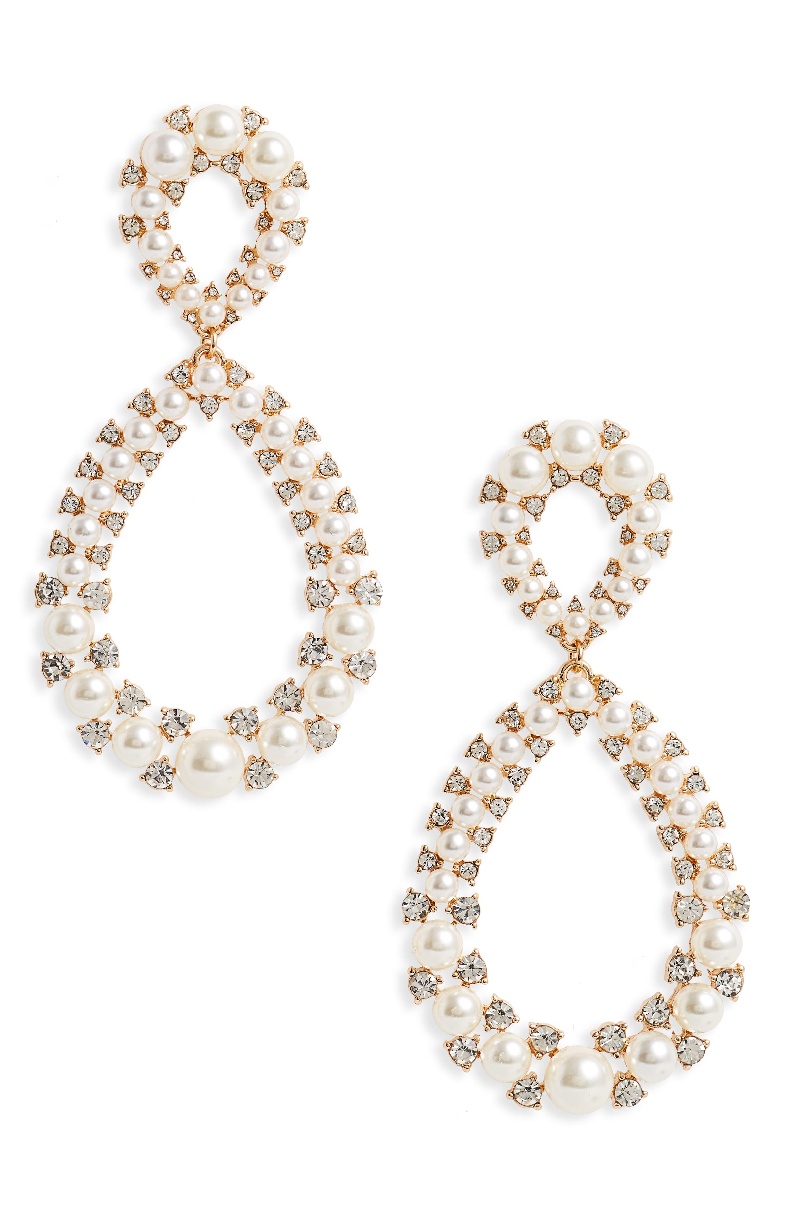 Imitation Pearl & Crystal Statement Earrings,                         Main,                         color, Crystal/ Pearl/ Gold