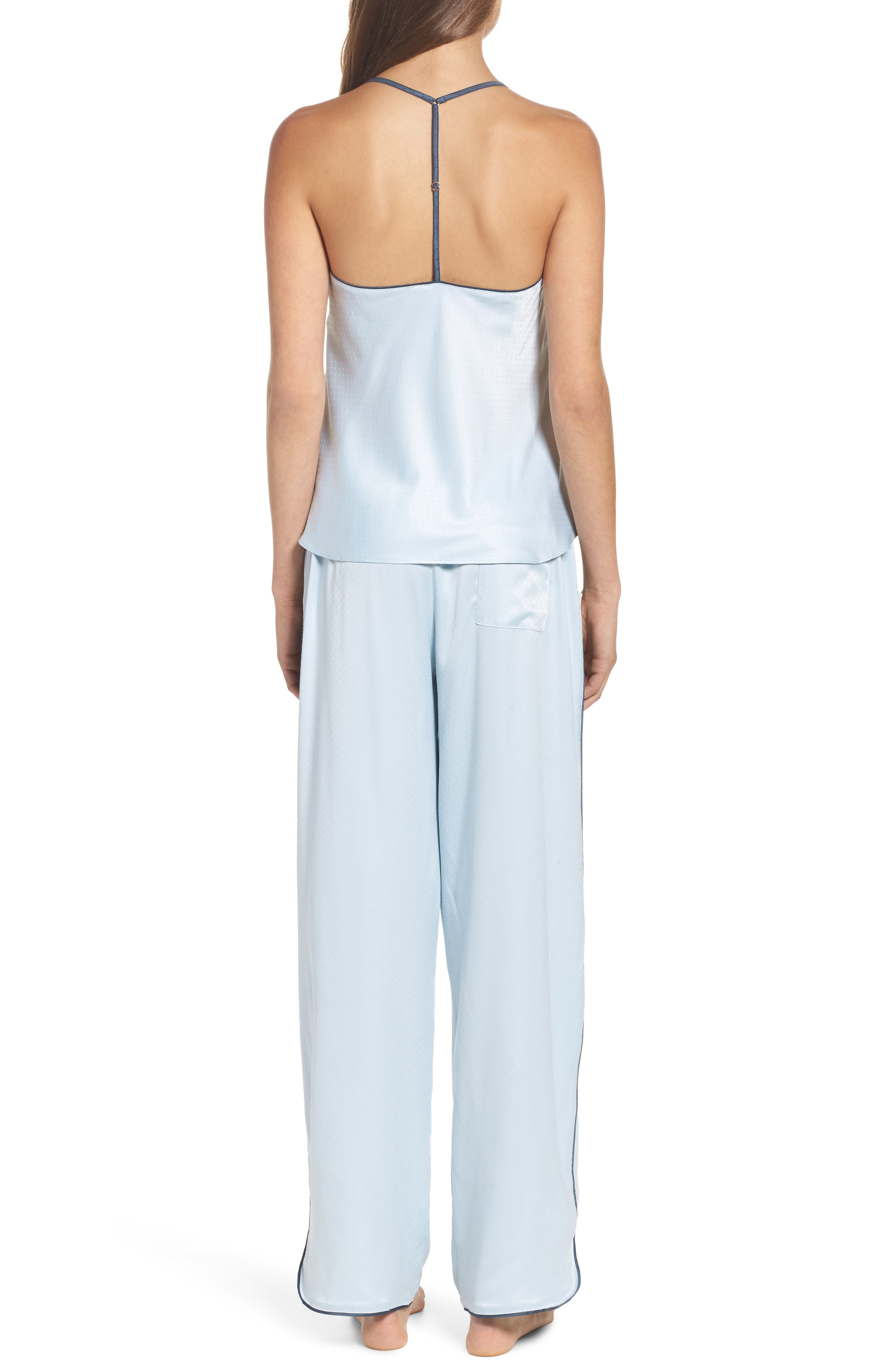 Chelsea27 Late Nights Satin Lounge Pants,                             Alternate thumbnail 5, color,                             Blue Drift