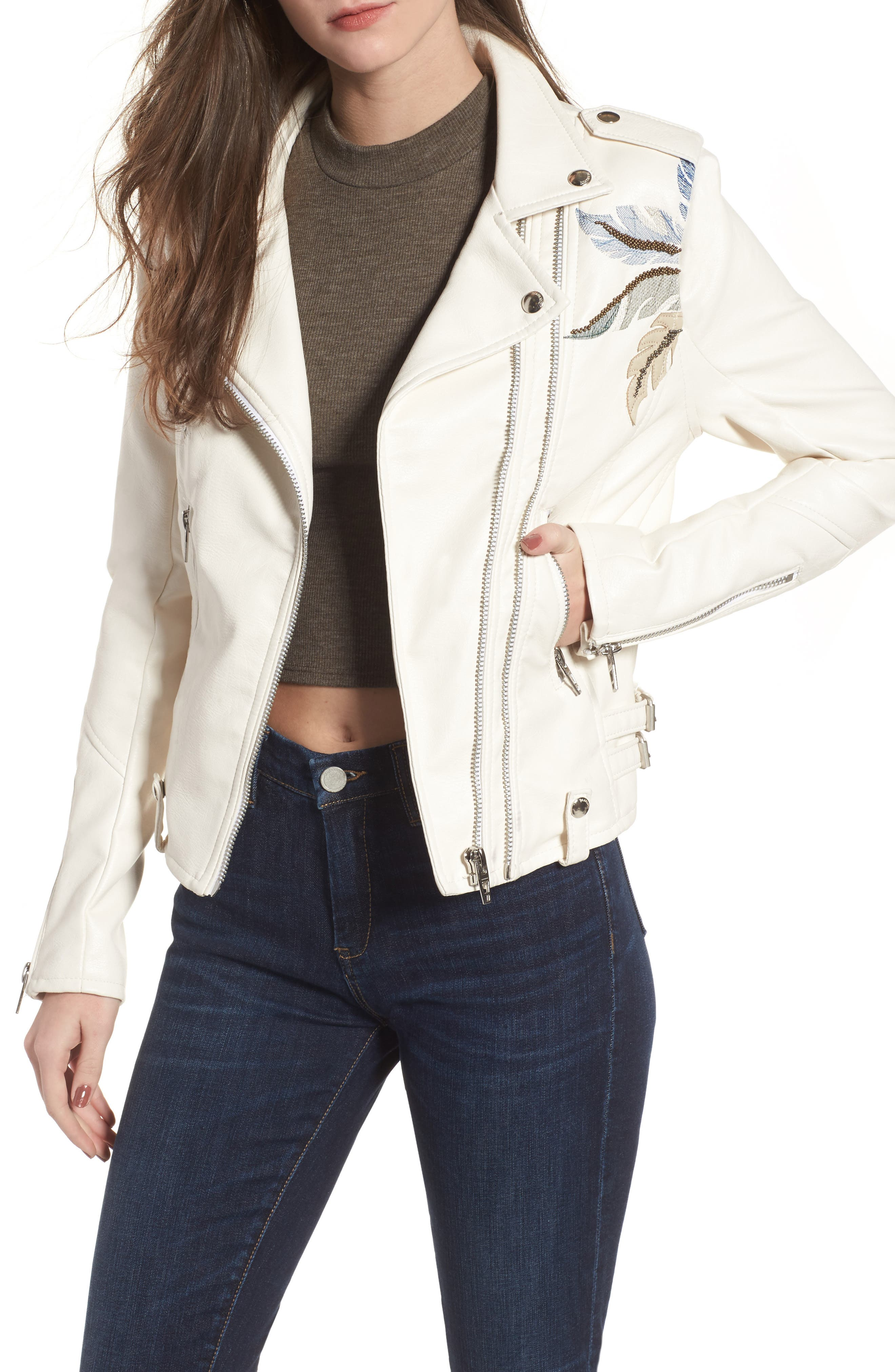 Embroidered Faux Leather Moto Jacket,                         Main,                         color, Palm Breeze