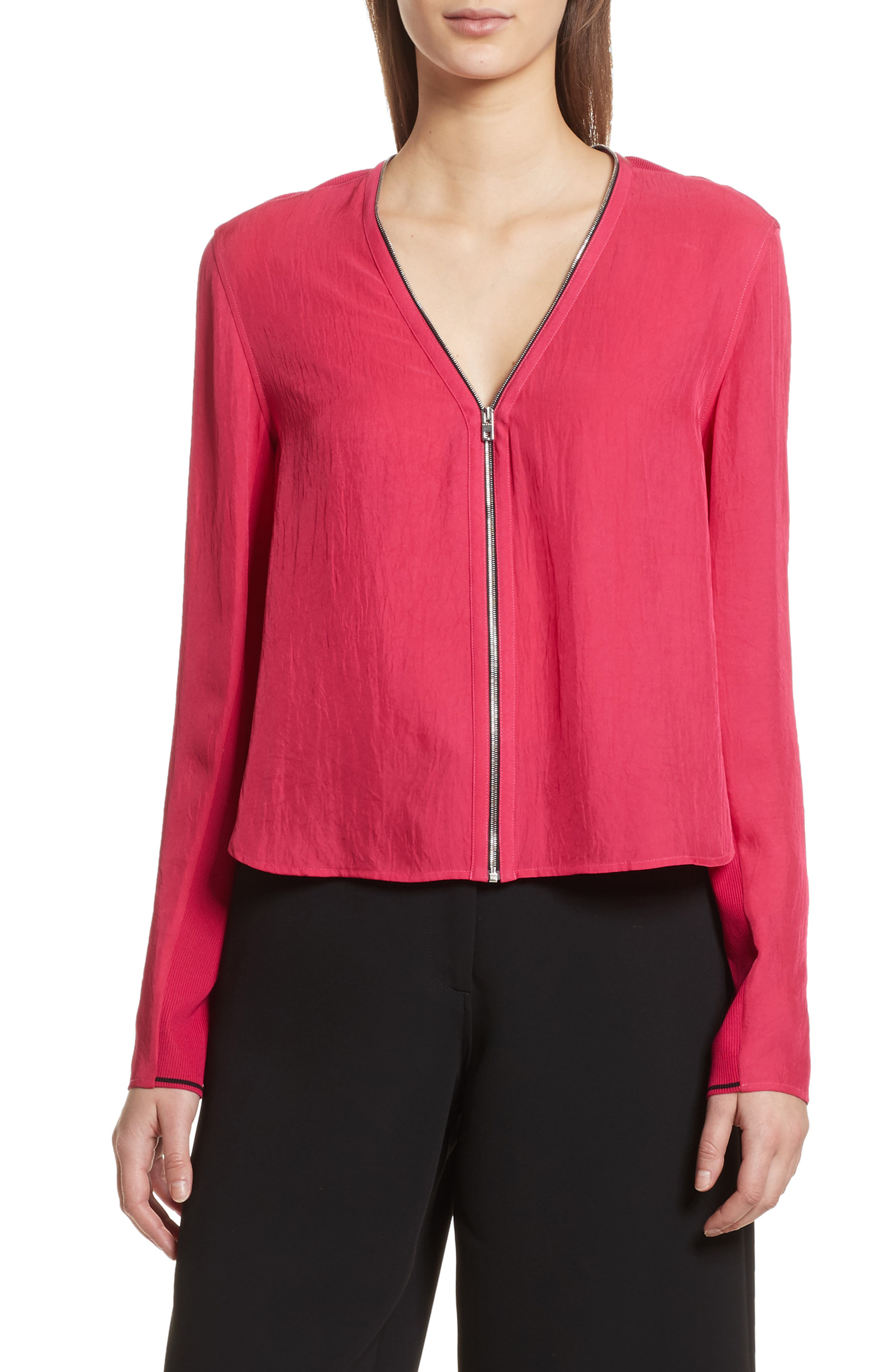 Vanessa Zip Front Blouse,                             Main thumbnail 1, color,                             Bright Rose