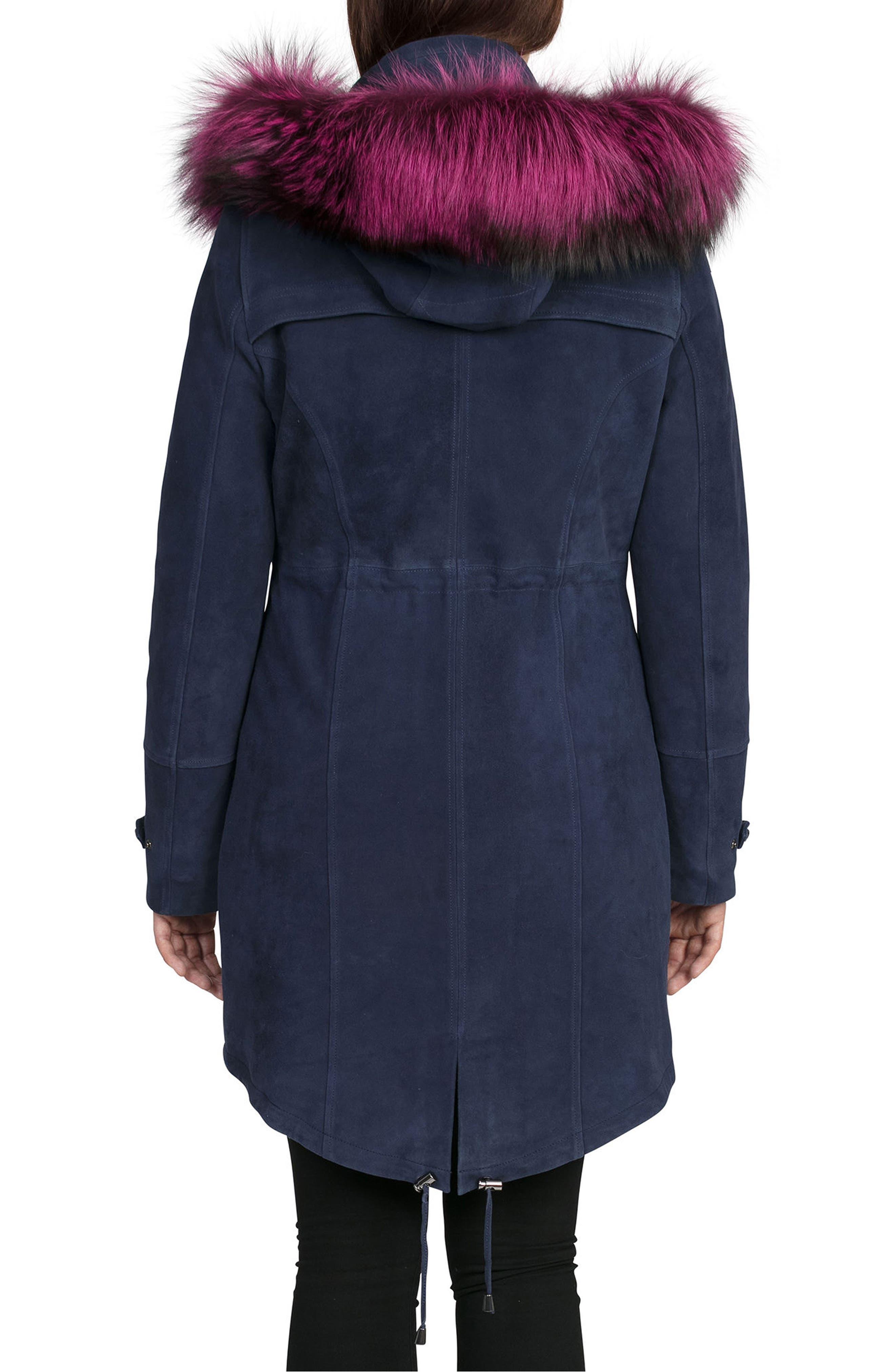 BAGATELLE.CITY The Parka Suede Coat with Genuine Fox Fur Trim,                             Alternate thumbnail 2, color,                             Ink