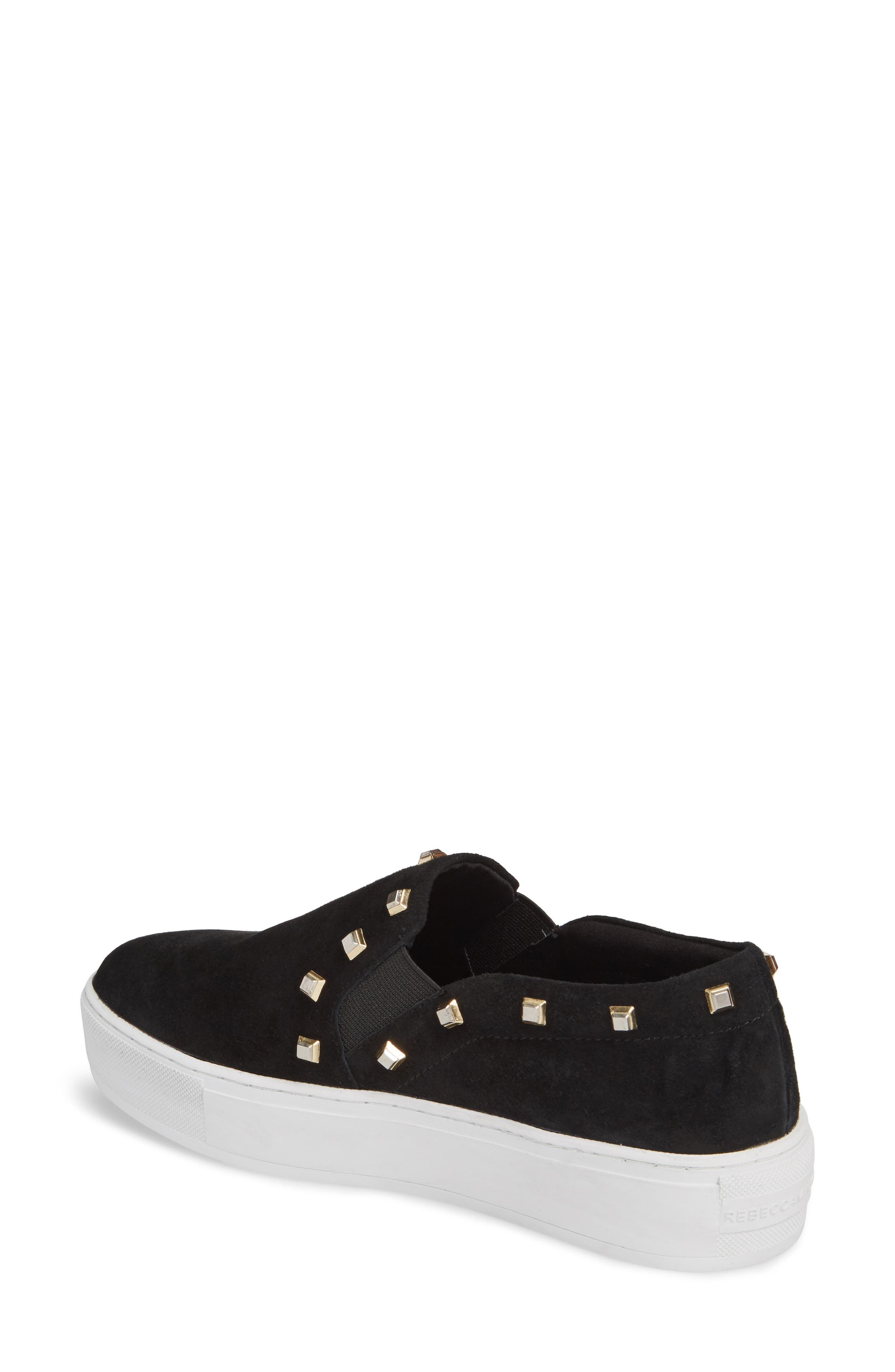 Nora Stud Platform Sneaker,                             Alternate thumbnail 2, color,                             Black Suede