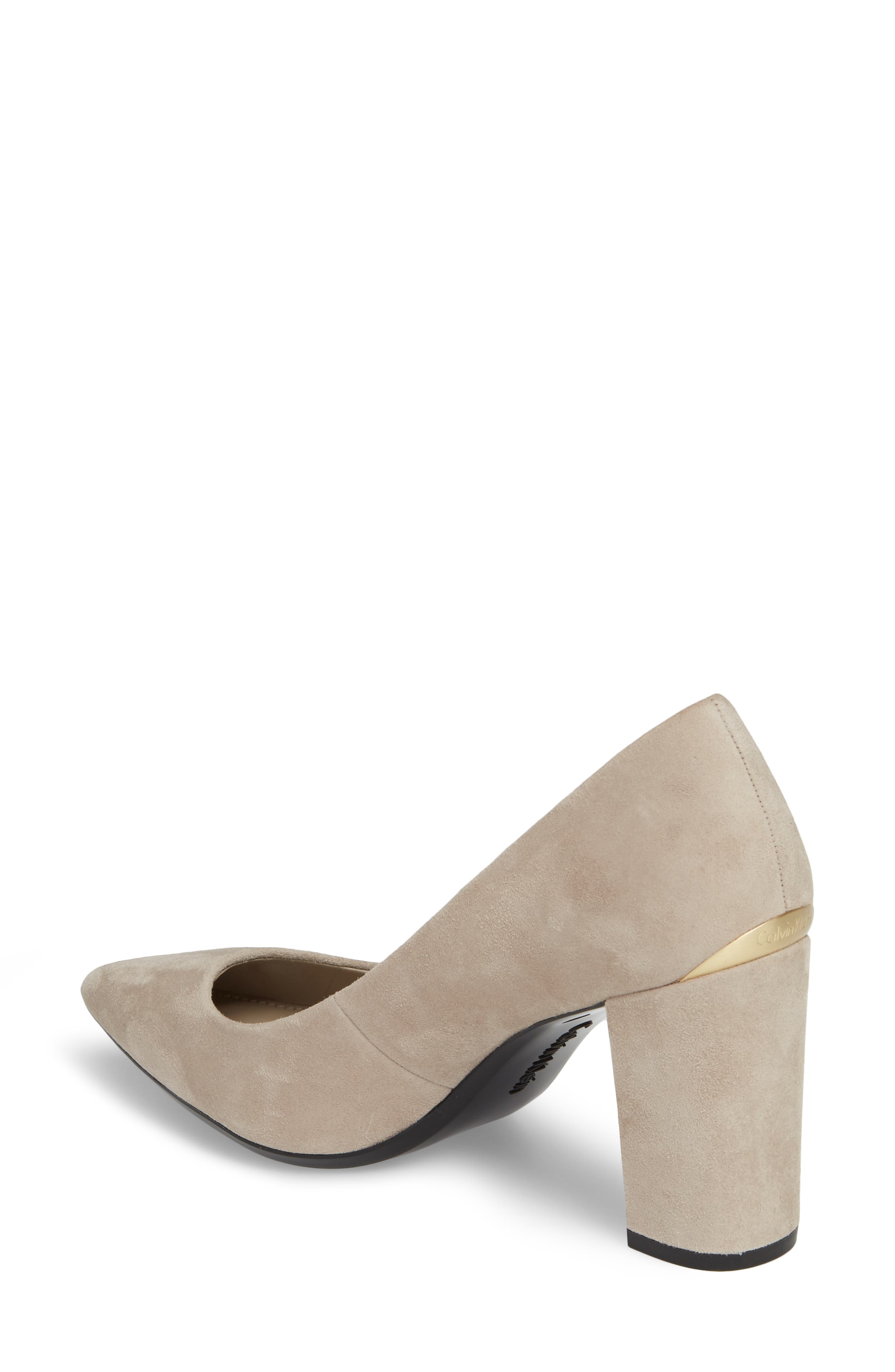 Eviti Pointy Toe Pump,                             Alternate thumbnail 2, color,                             Clay Suede