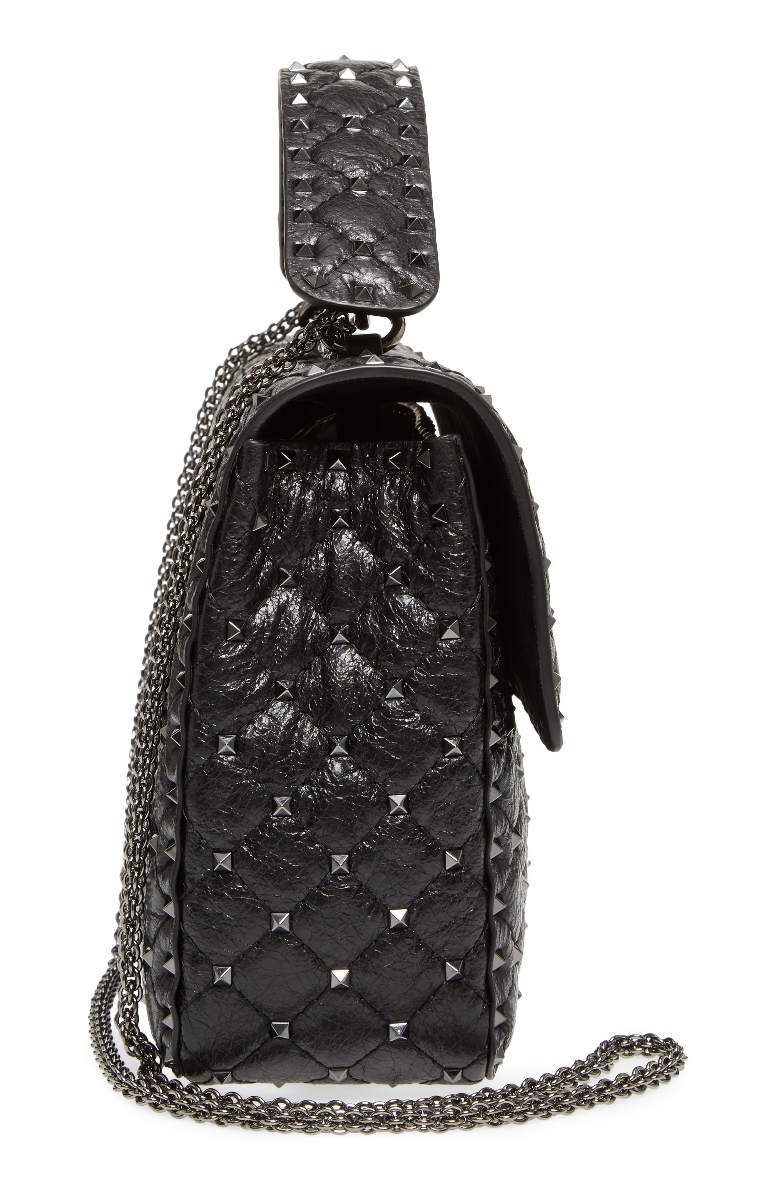Vitello Rockstud Lambskin Leather Shoulder Bag,                             Alternate thumbnail 5, color,                             Nero