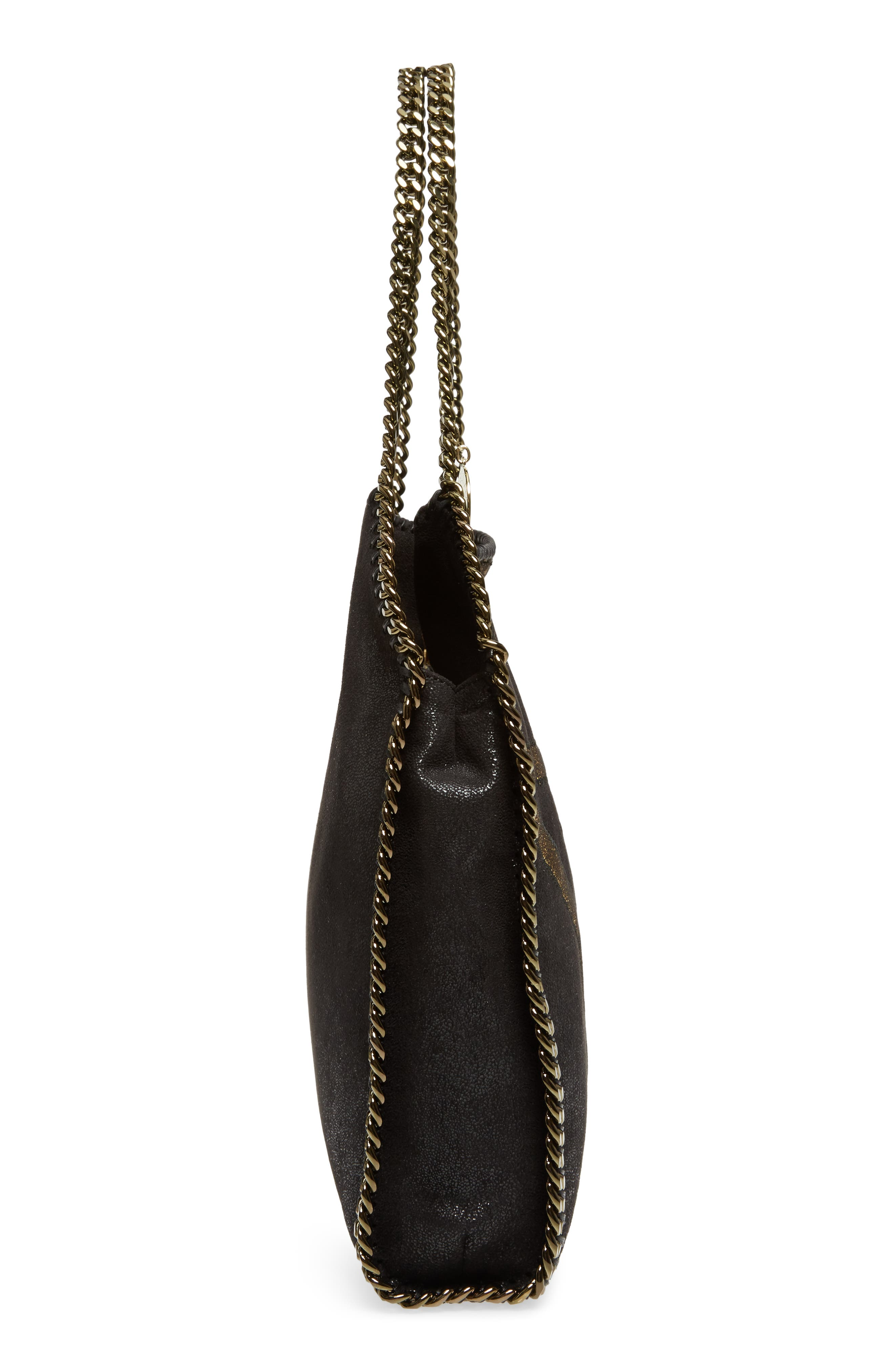 Small Falabella Shaggy Deer Star Faux Leather Tote,                             Alternate thumbnail 5, color,                             Black/ Gold