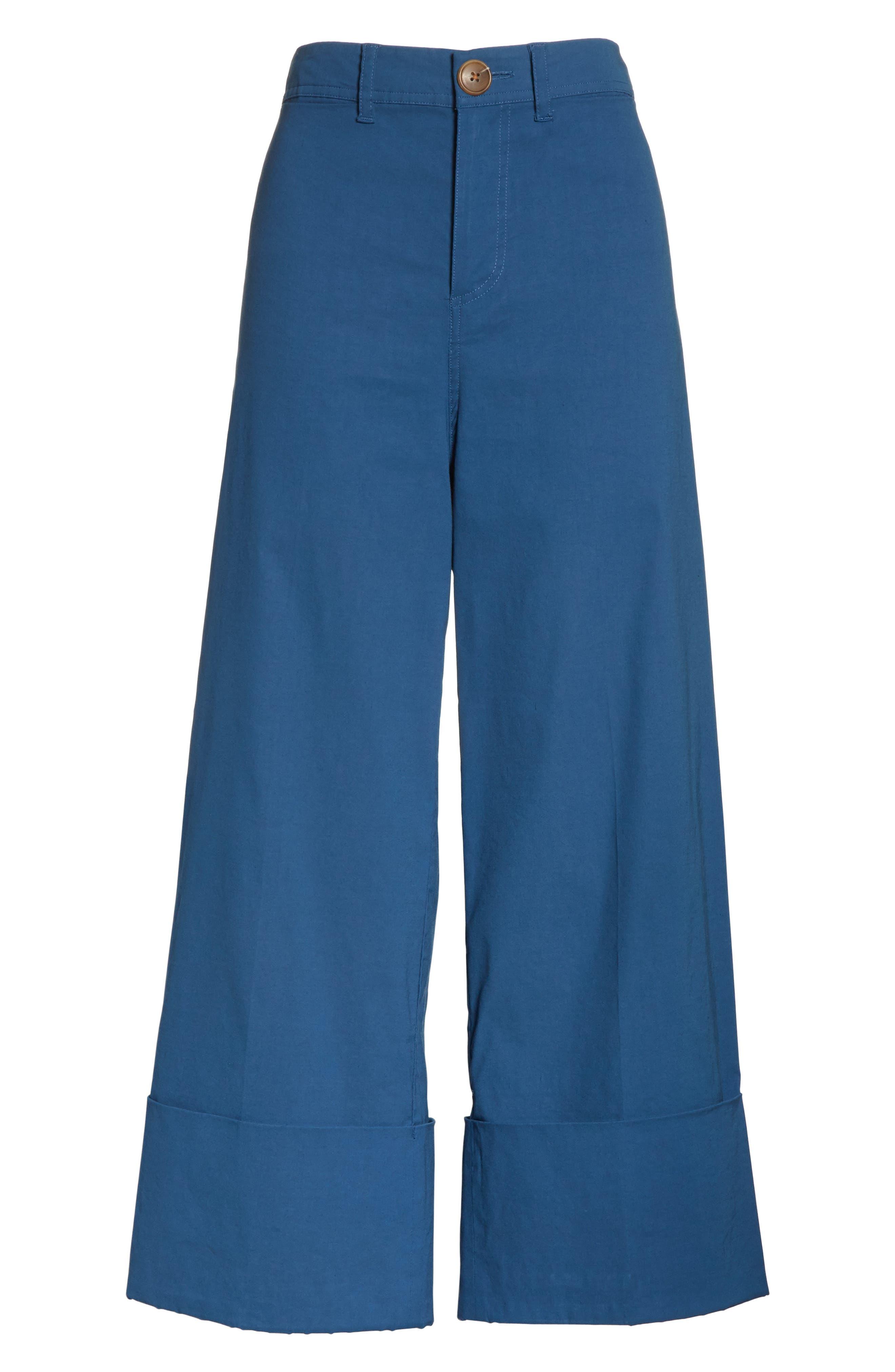 Winona Cuff Wide Leg Pants,                             Alternate thumbnail 6, color,                             Blue