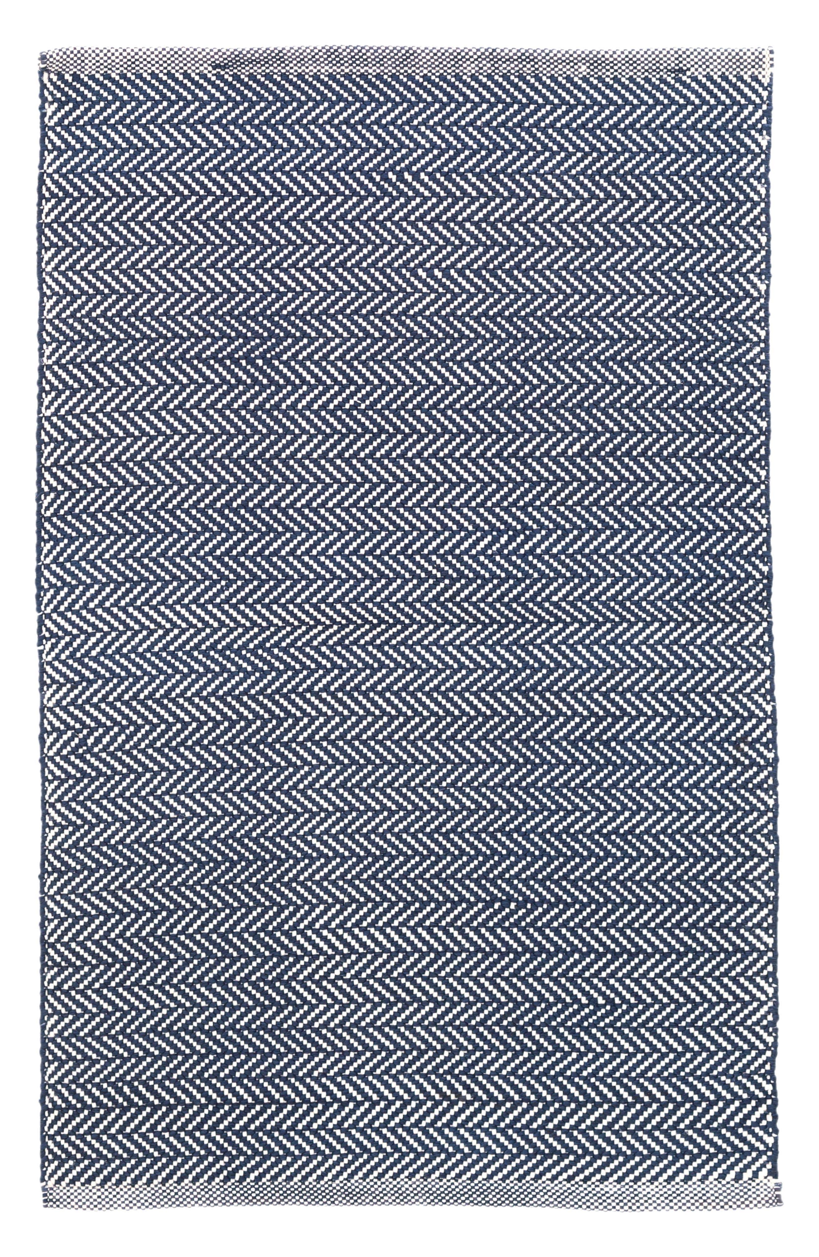 Herringbone Rug,                         Main,                         color, Indigo