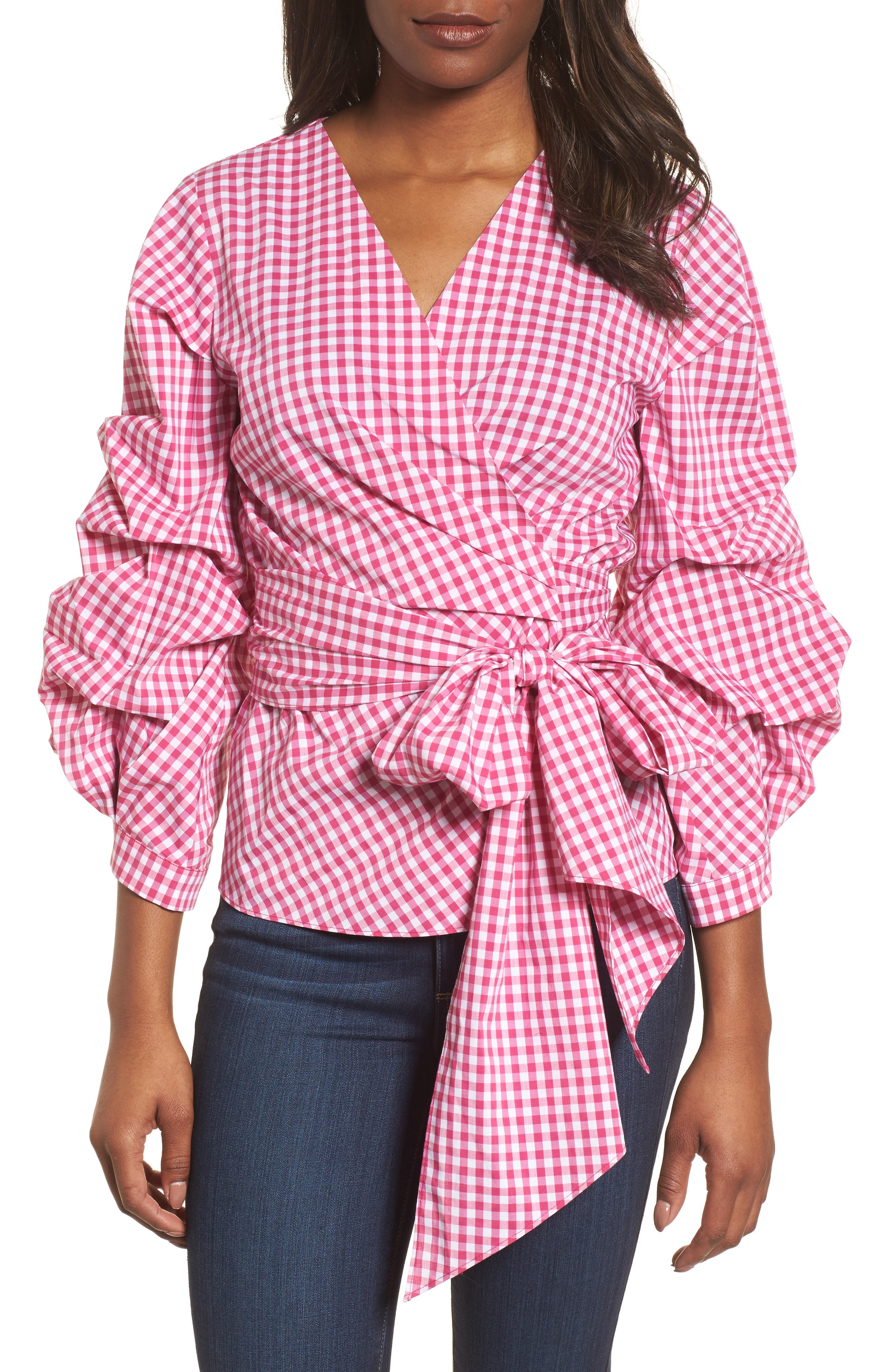Pintuck Blouson Sleeve Wrap Top,                             Main thumbnail 1, color,                             Pink- White Gingham