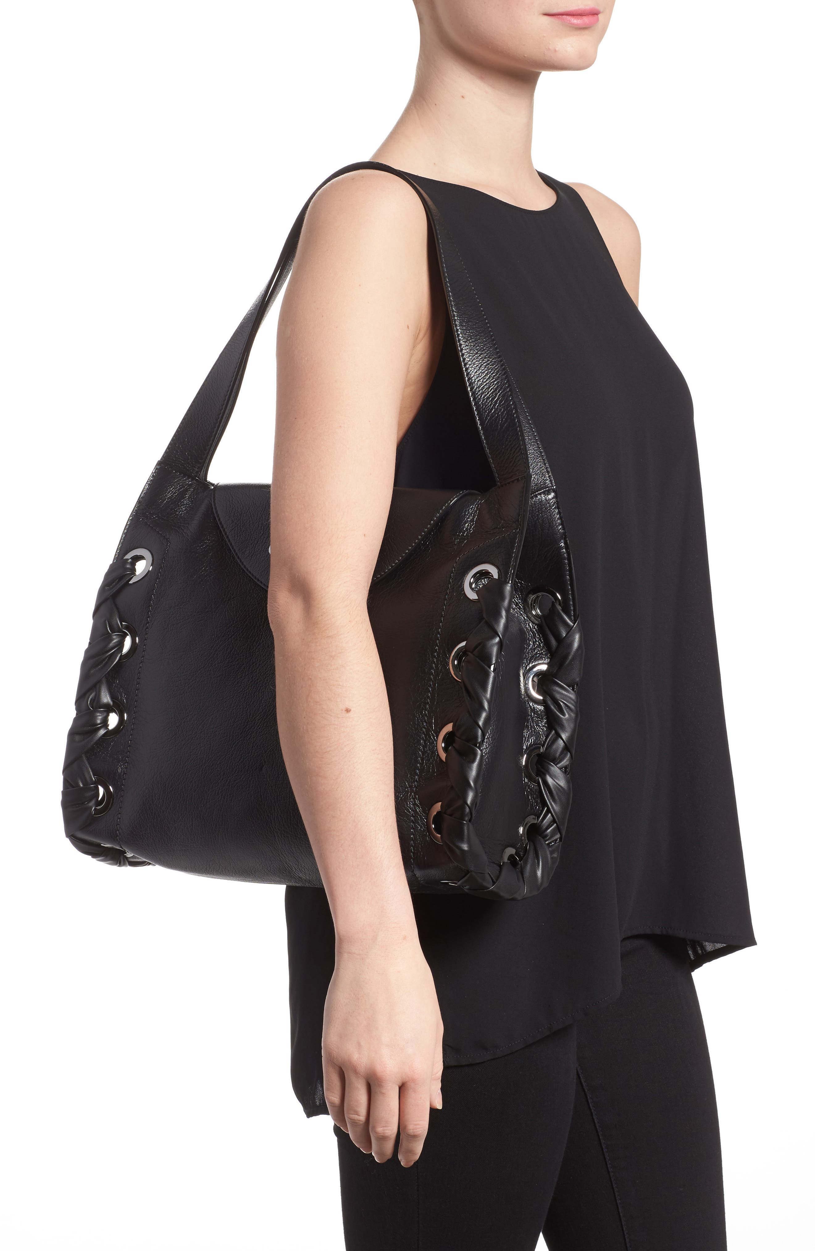 Rebel Leather Shoulder Bag,                             Alternate thumbnail 2, color,                             Black