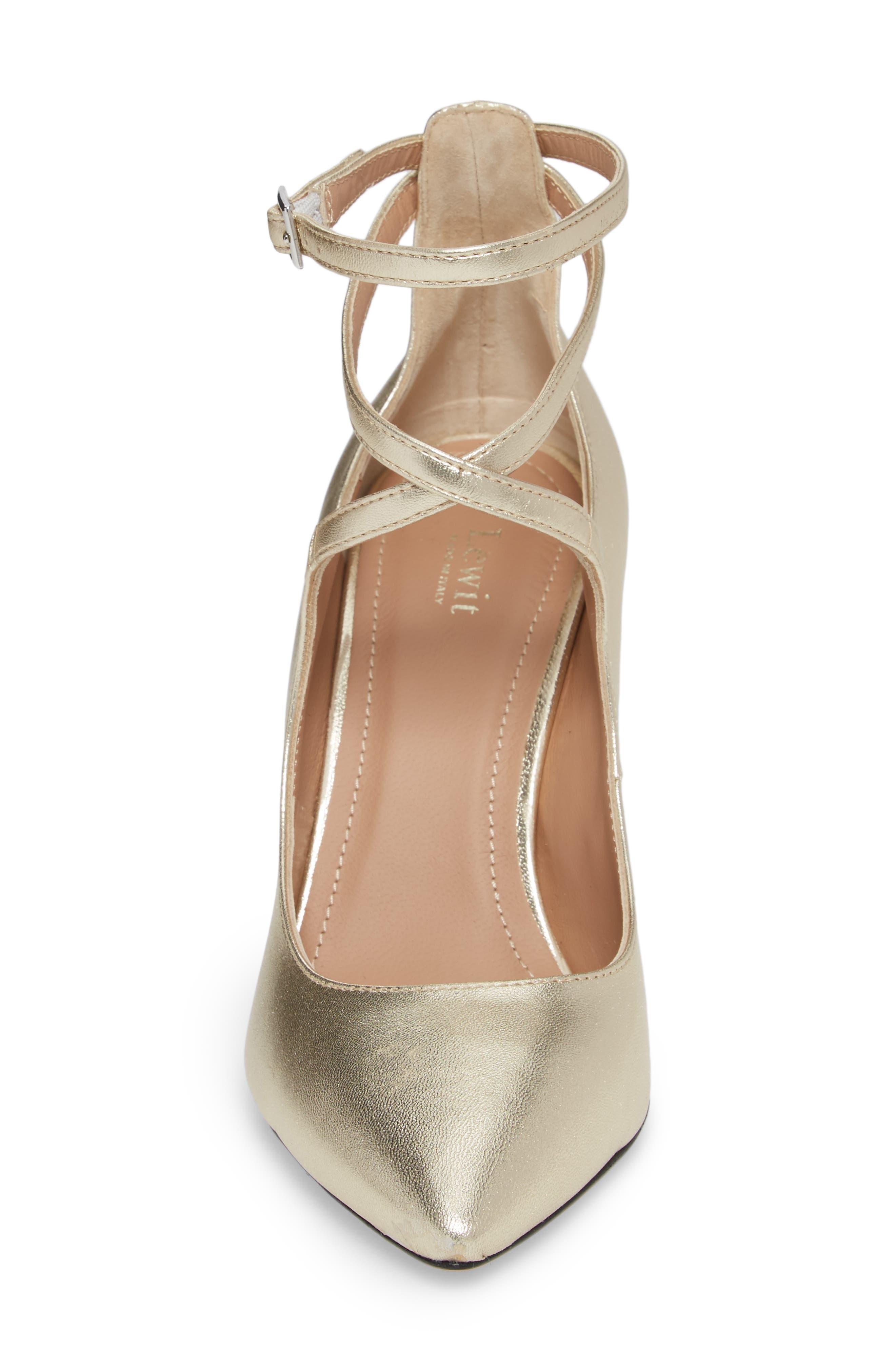 Carita Ankle Wrap Pump,                             Alternate thumbnail 4, color,                             Platino Leather