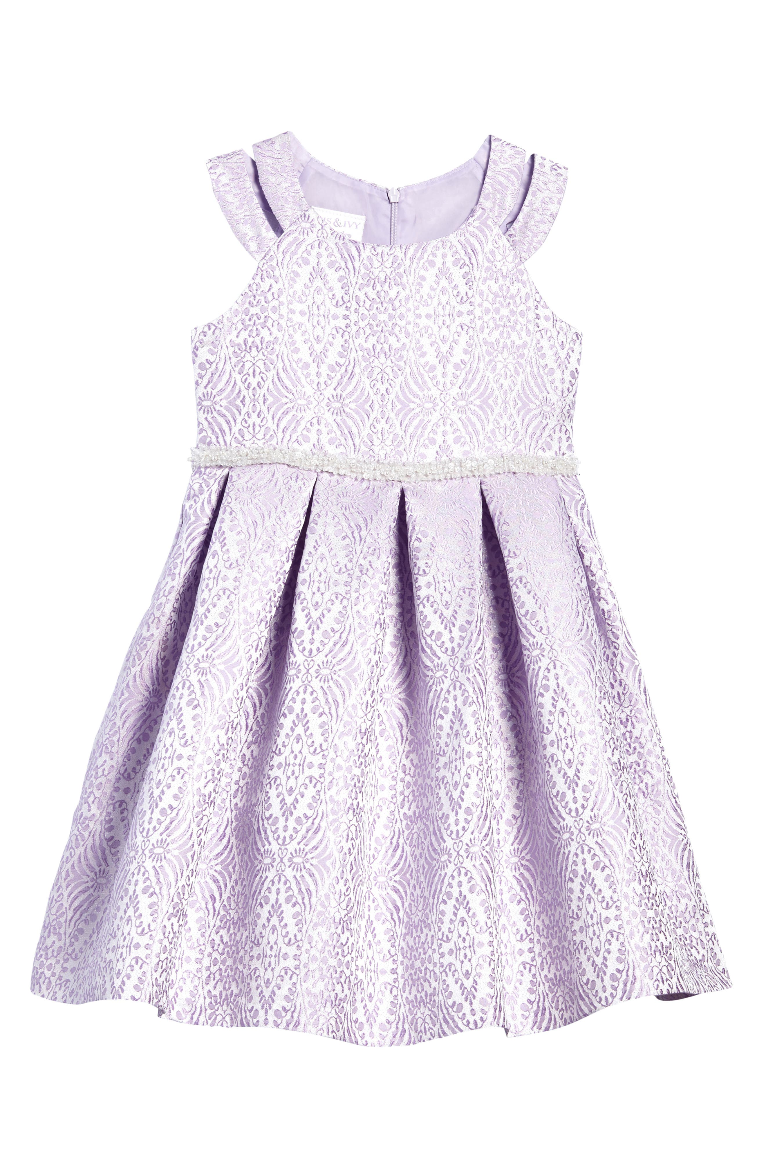 Jacquard Fit & Flare Dress,                             Main thumbnail 1, color,                             Lavendar
