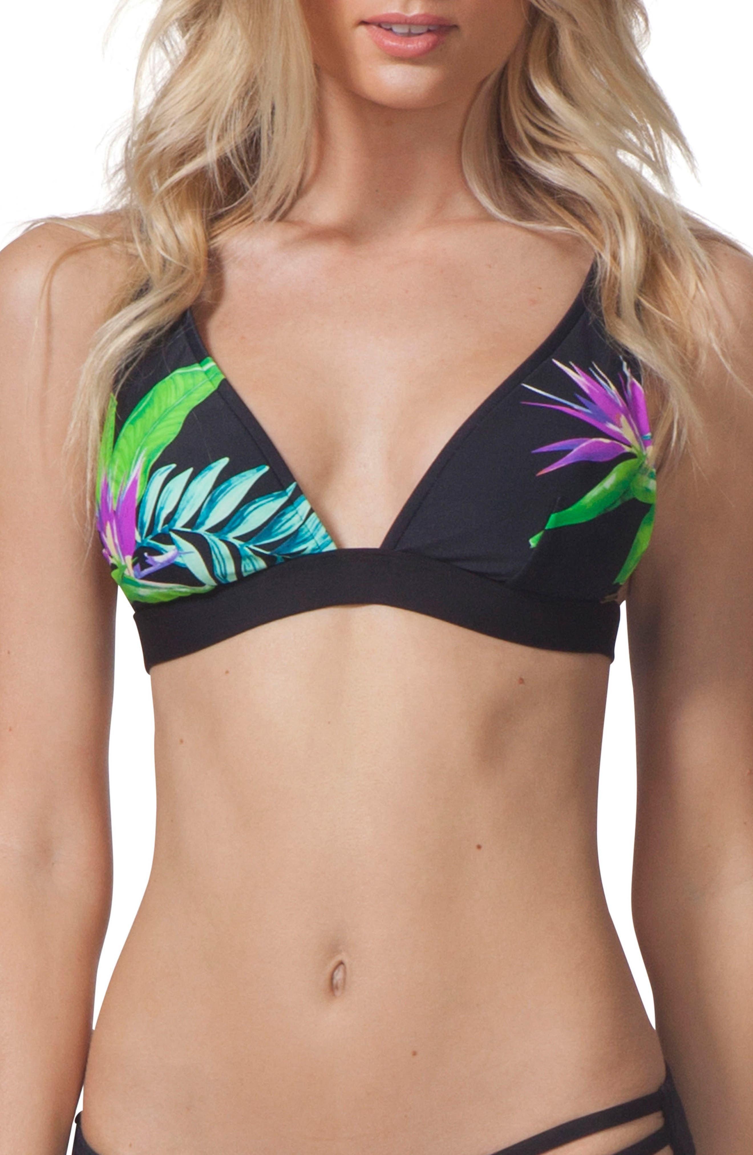 Paradise Cove Triangle Bikini Top,                         Main,                         color, Black