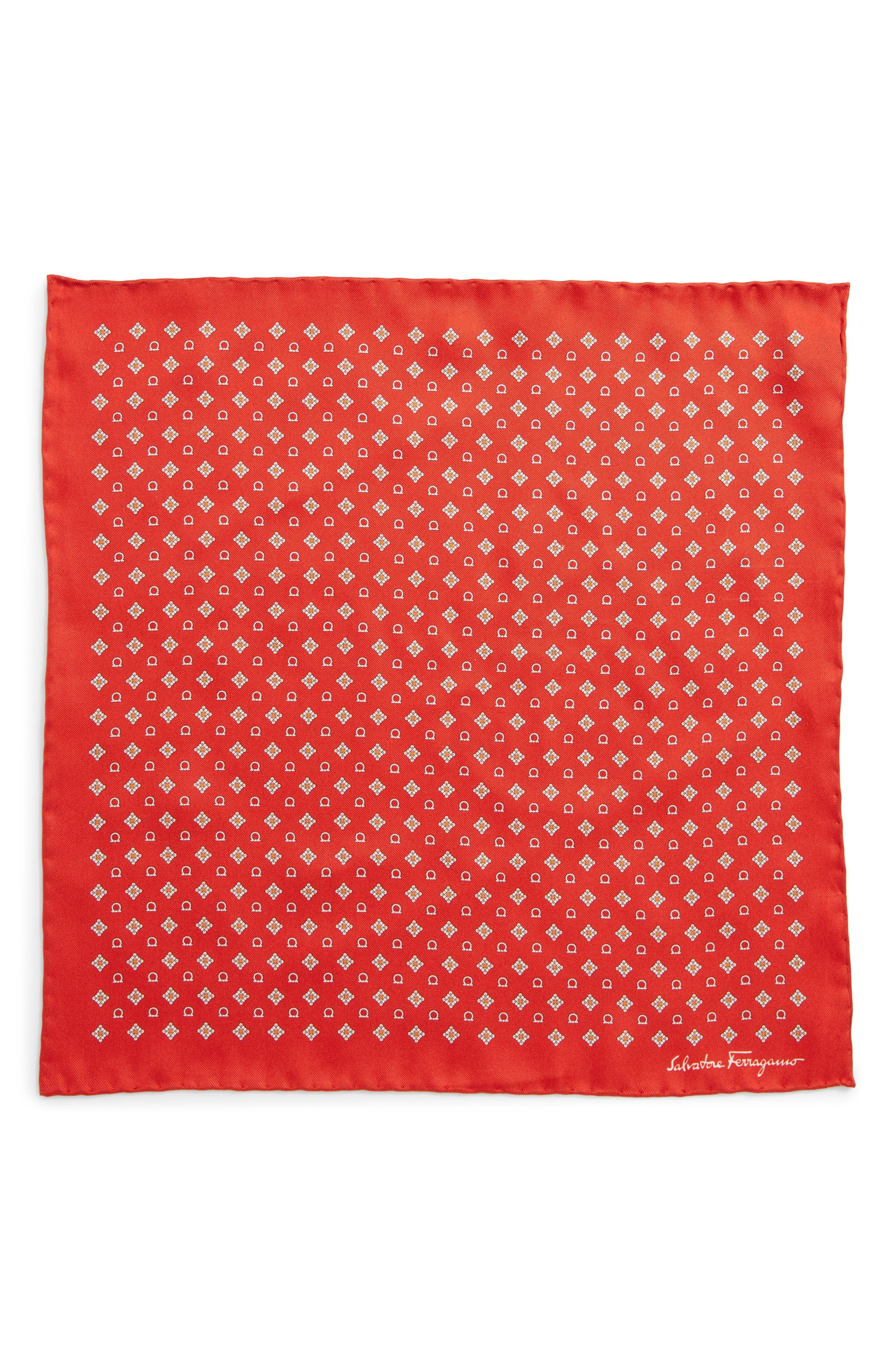 Edison Medallion Silk Pocket Square,                             Alternate thumbnail 2, color,                             Red