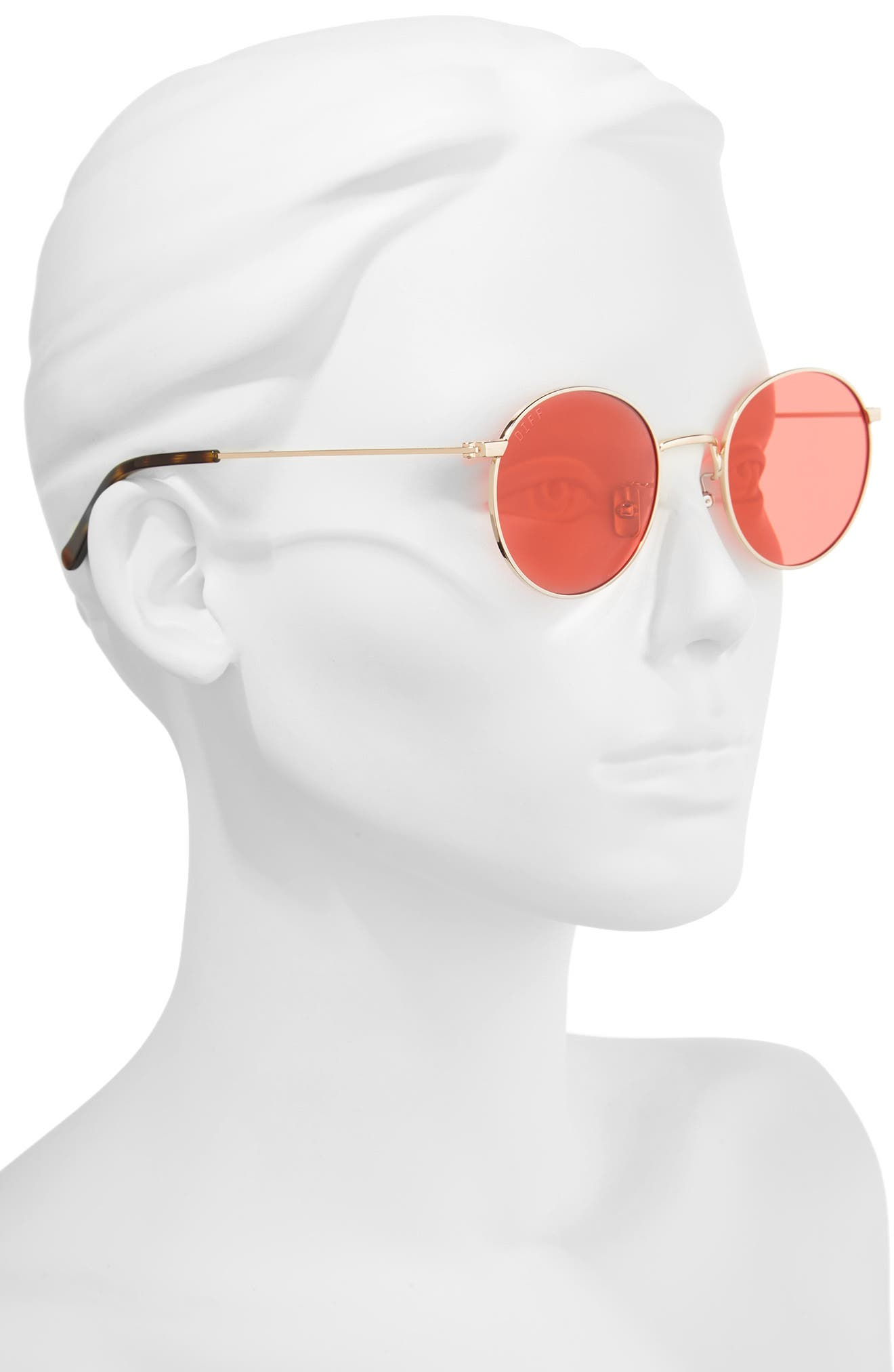 Daisy 51mm Round Sunglasses,                             Alternate thumbnail 2, color,                             Gold/ Red