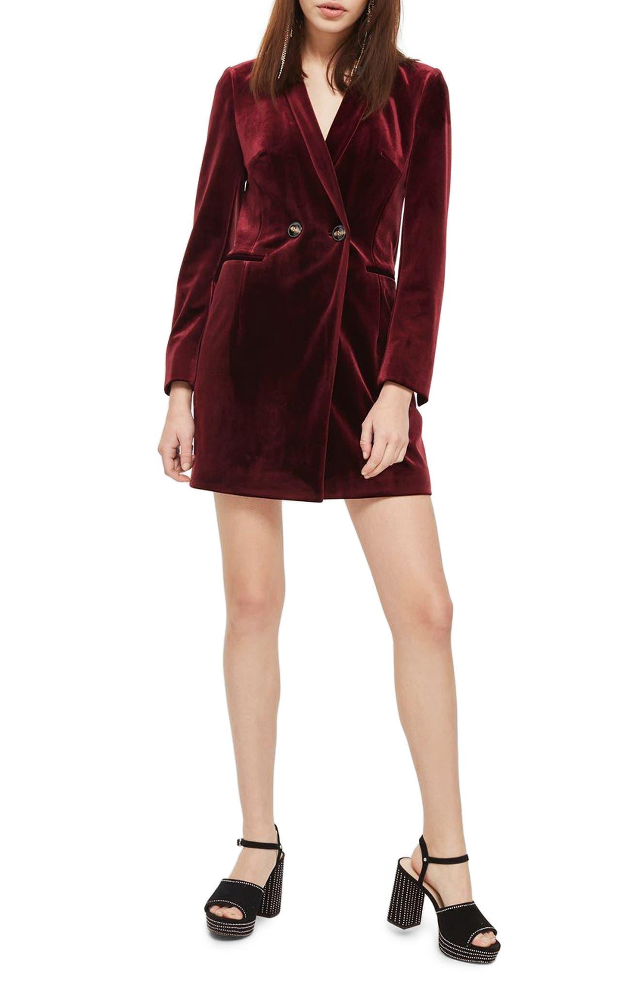 Double Breasted Velvet Blazer Dress,                         Main,                         color, Burgundy