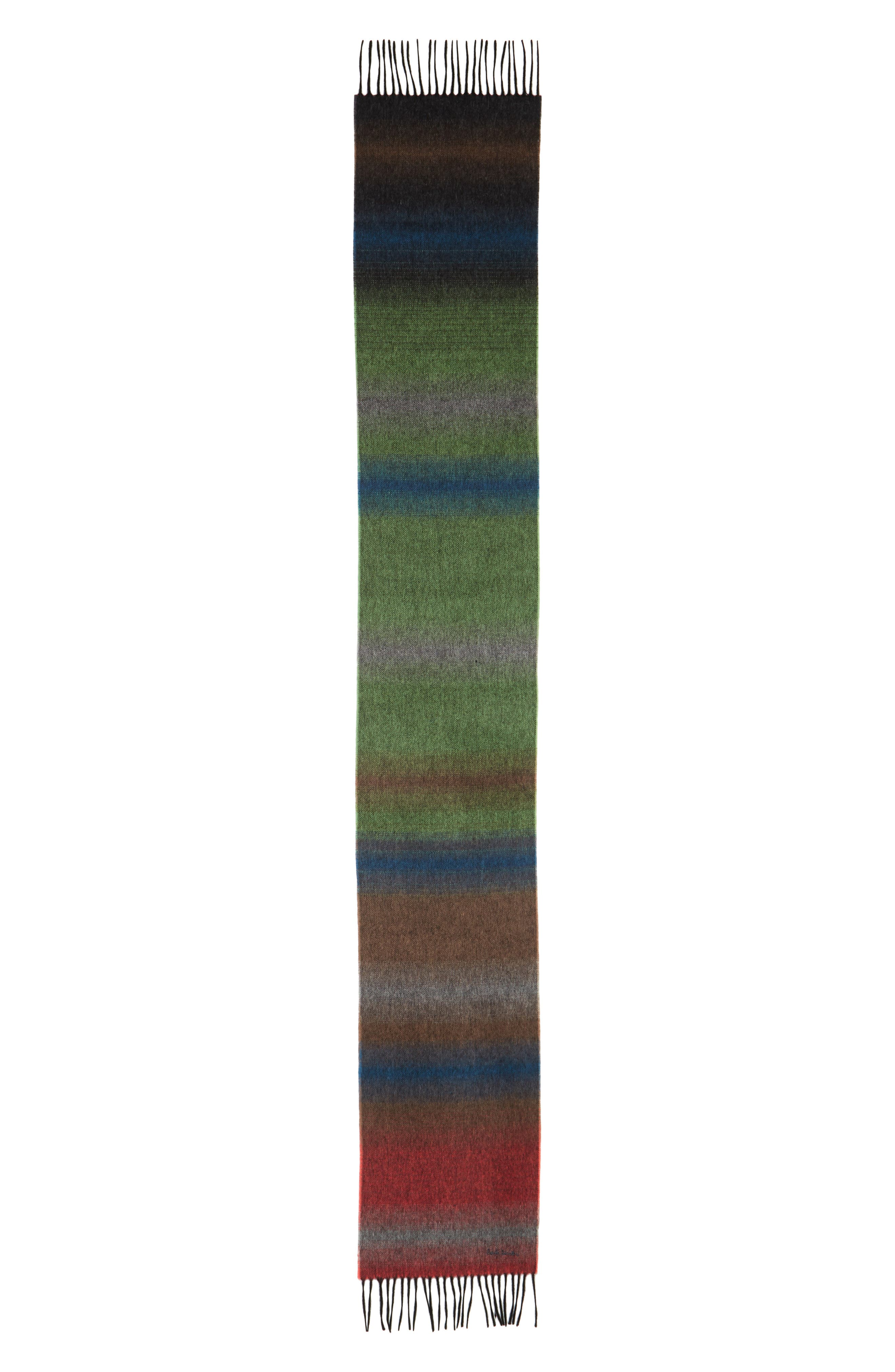 Fade Stripe Wool & Cashmere Scarf,                             Alternate thumbnail 2, color,                             Bottle Green