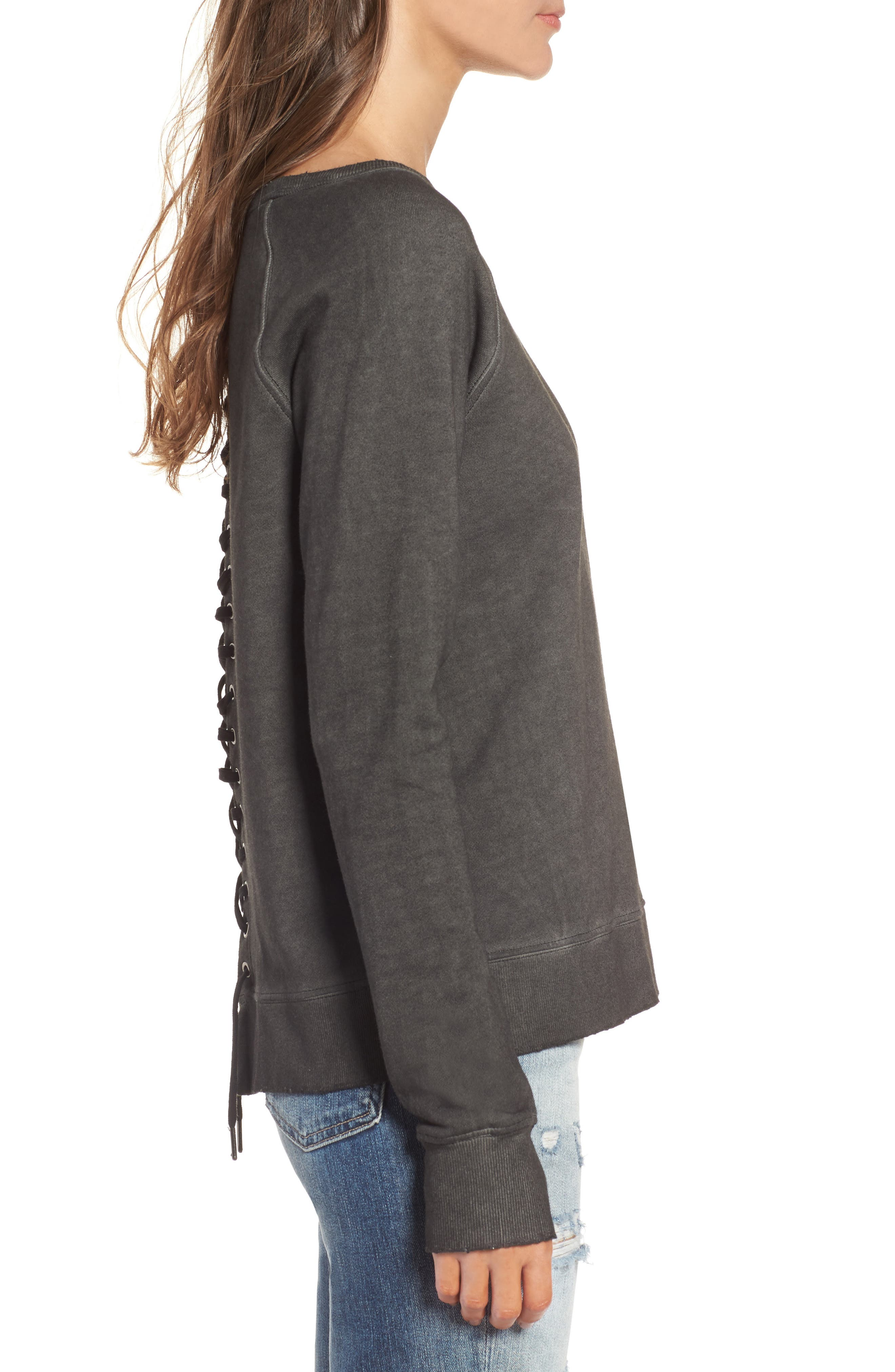 Lace-Up Sweatshirt,                             Alternate thumbnail 3, color,                             Oil Wash Black