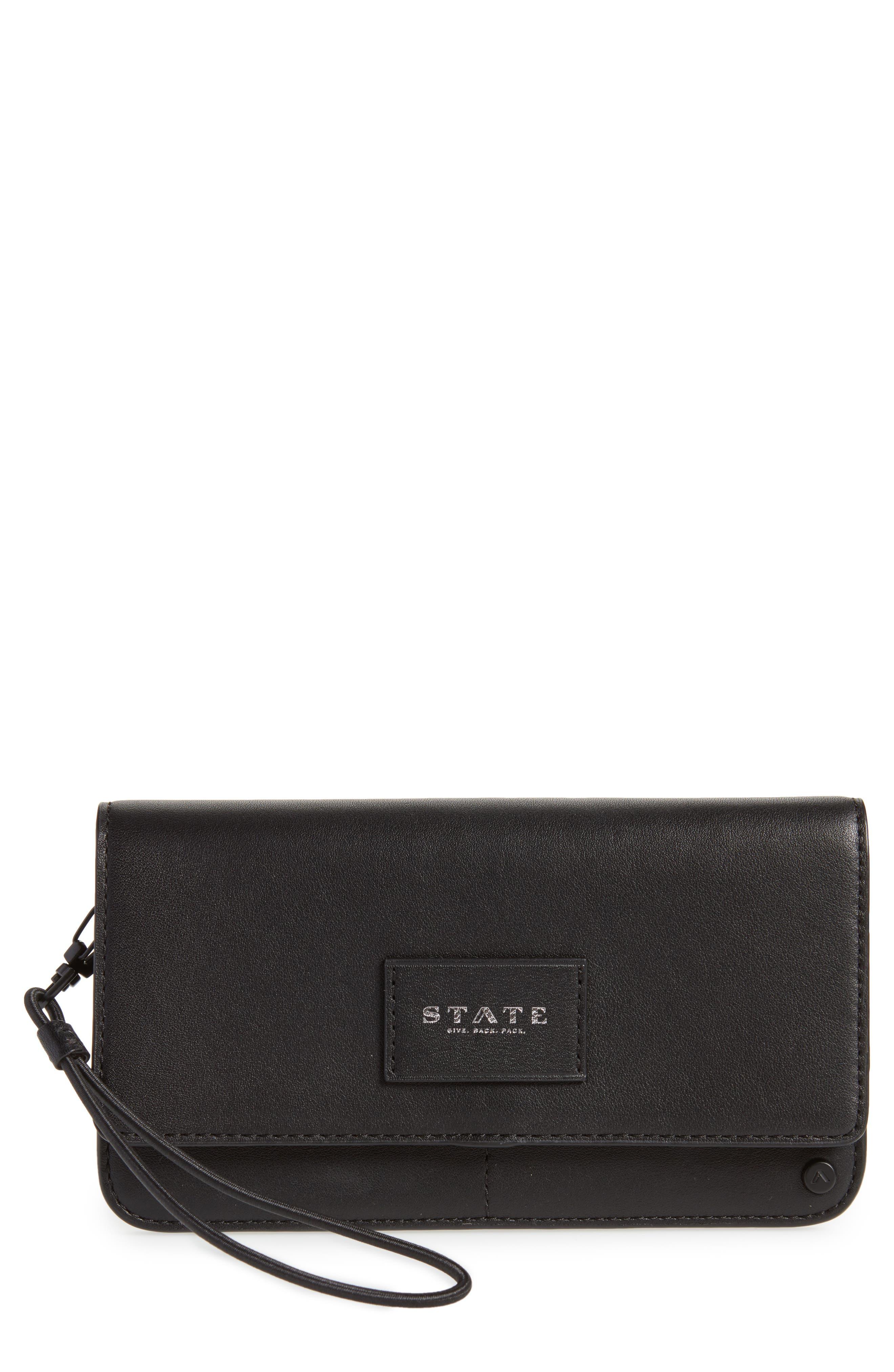 Parkville Bristol Leather Wristlet,                         Main,                         color, Black