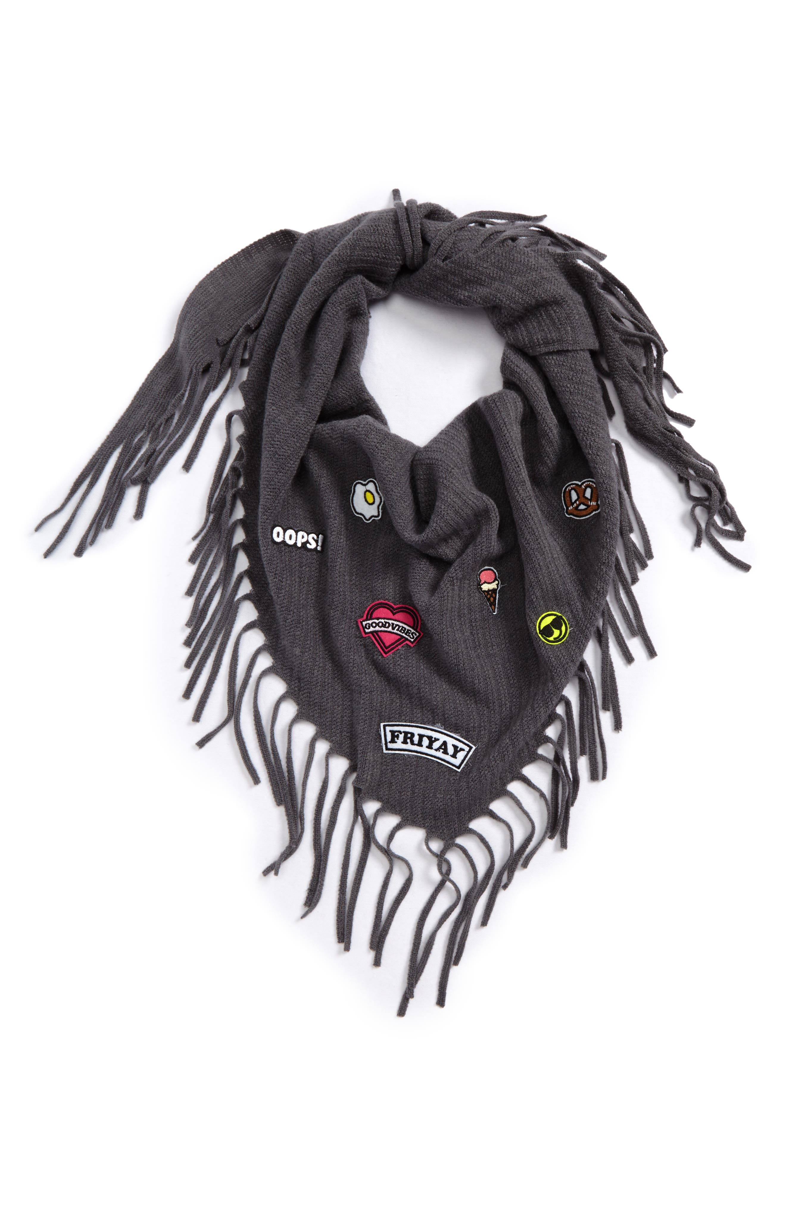 Patch Fringe Scarf,                         Main,                         color, Grey Moon