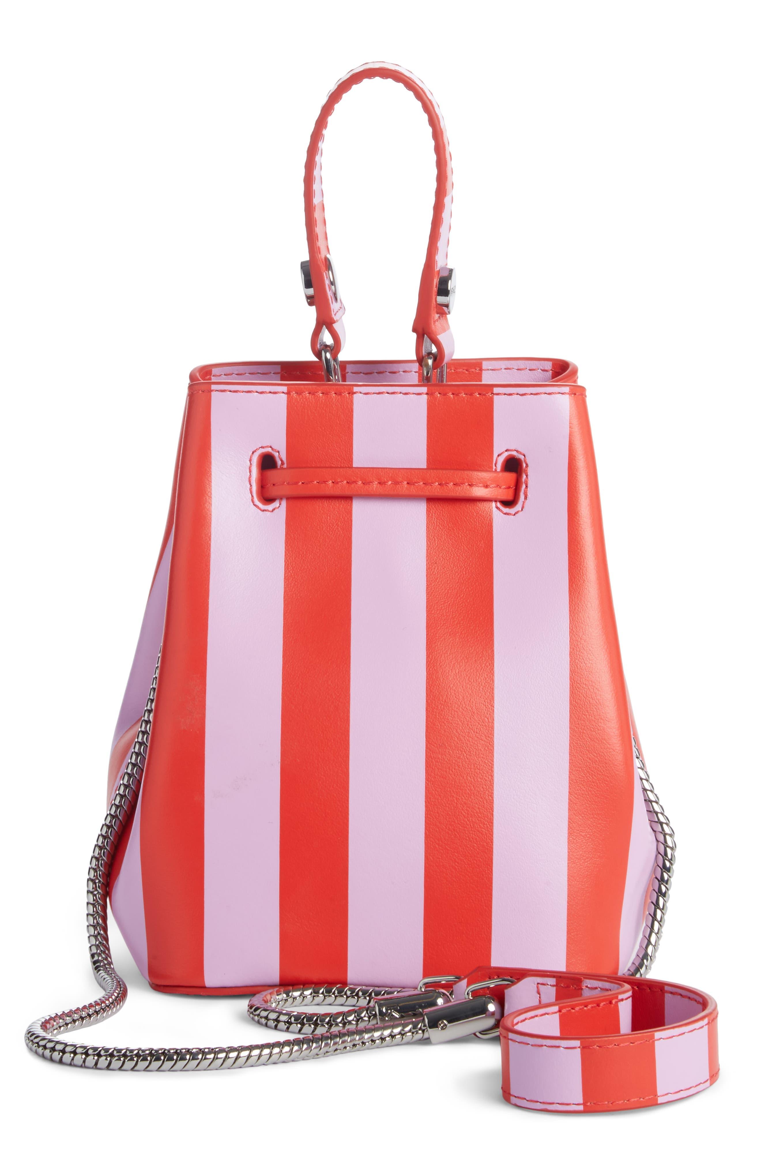 Mini Embroidered Eye Leather Bucket Bag,                             Alternate thumbnail 3, color,                             Medium Red