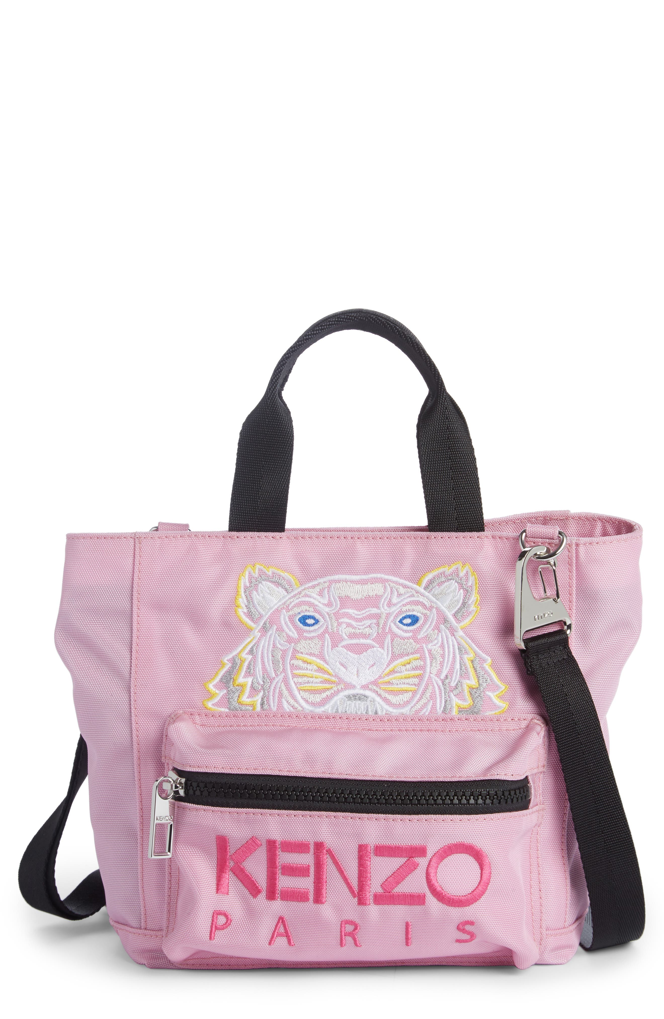 Mini Kanvas Embroidered Tiger Tote,                         Main,                         color, Flamingo Pink