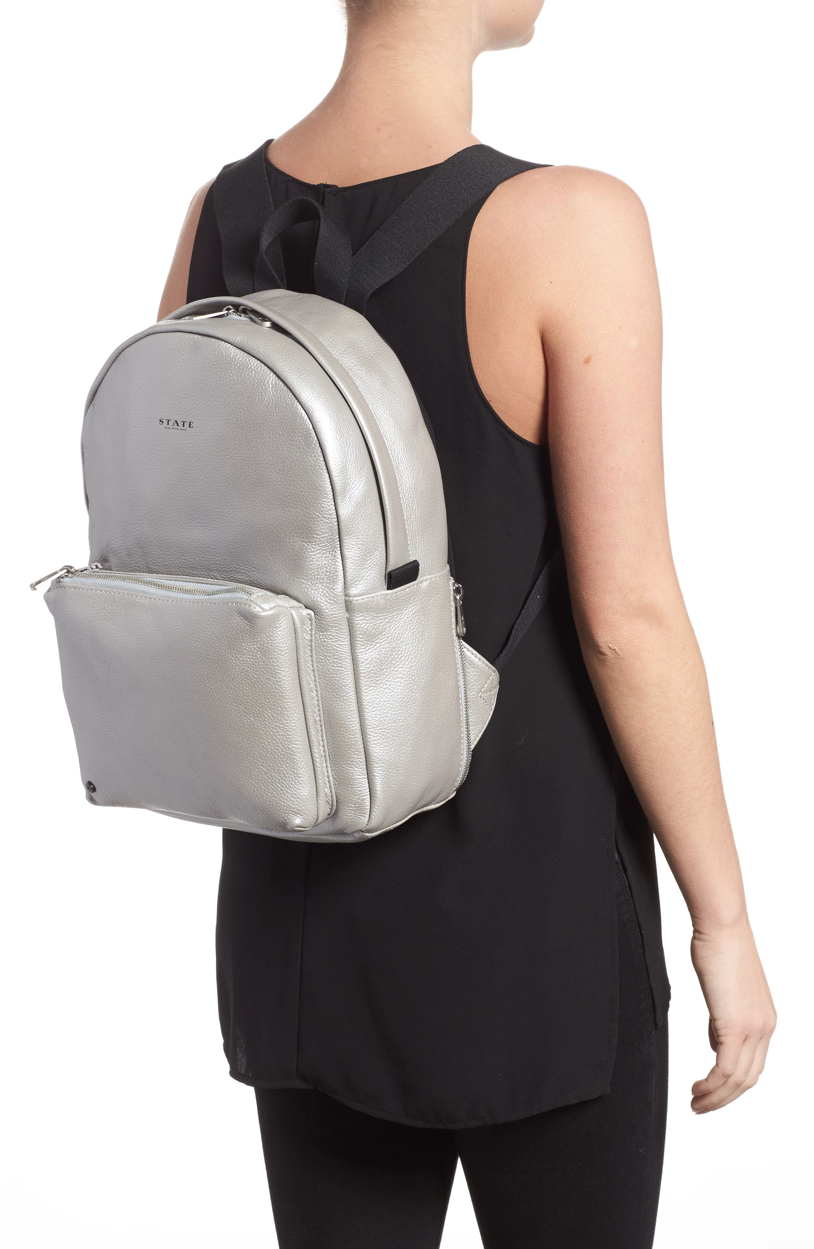 Greenwood Mini Lorimer Leather Backpack,                             Alternate thumbnail 2, color,                             Silver