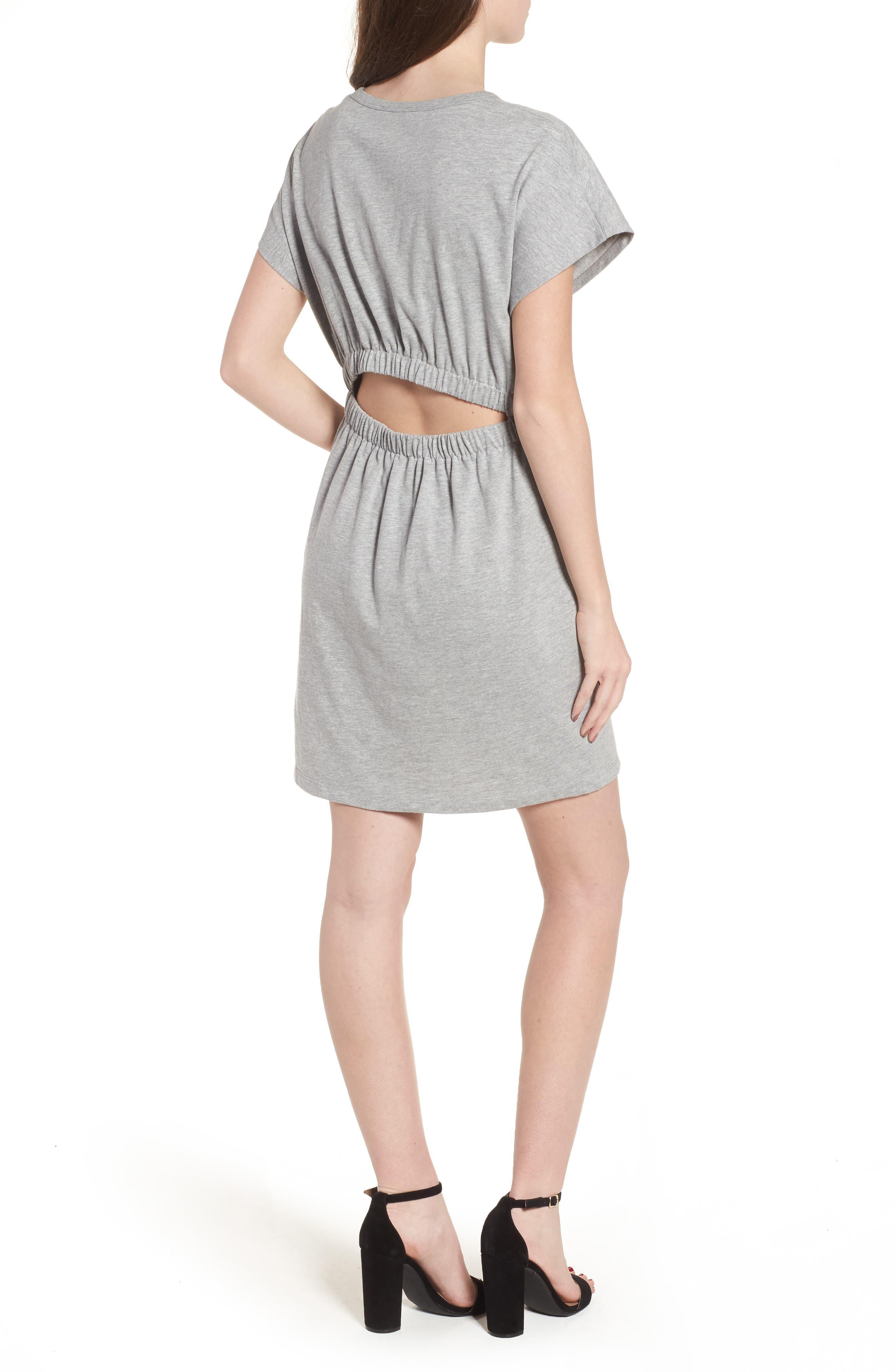 Tie Waist T-Shirt Dress,                             Alternate thumbnail 2, color,                             Heather Grey