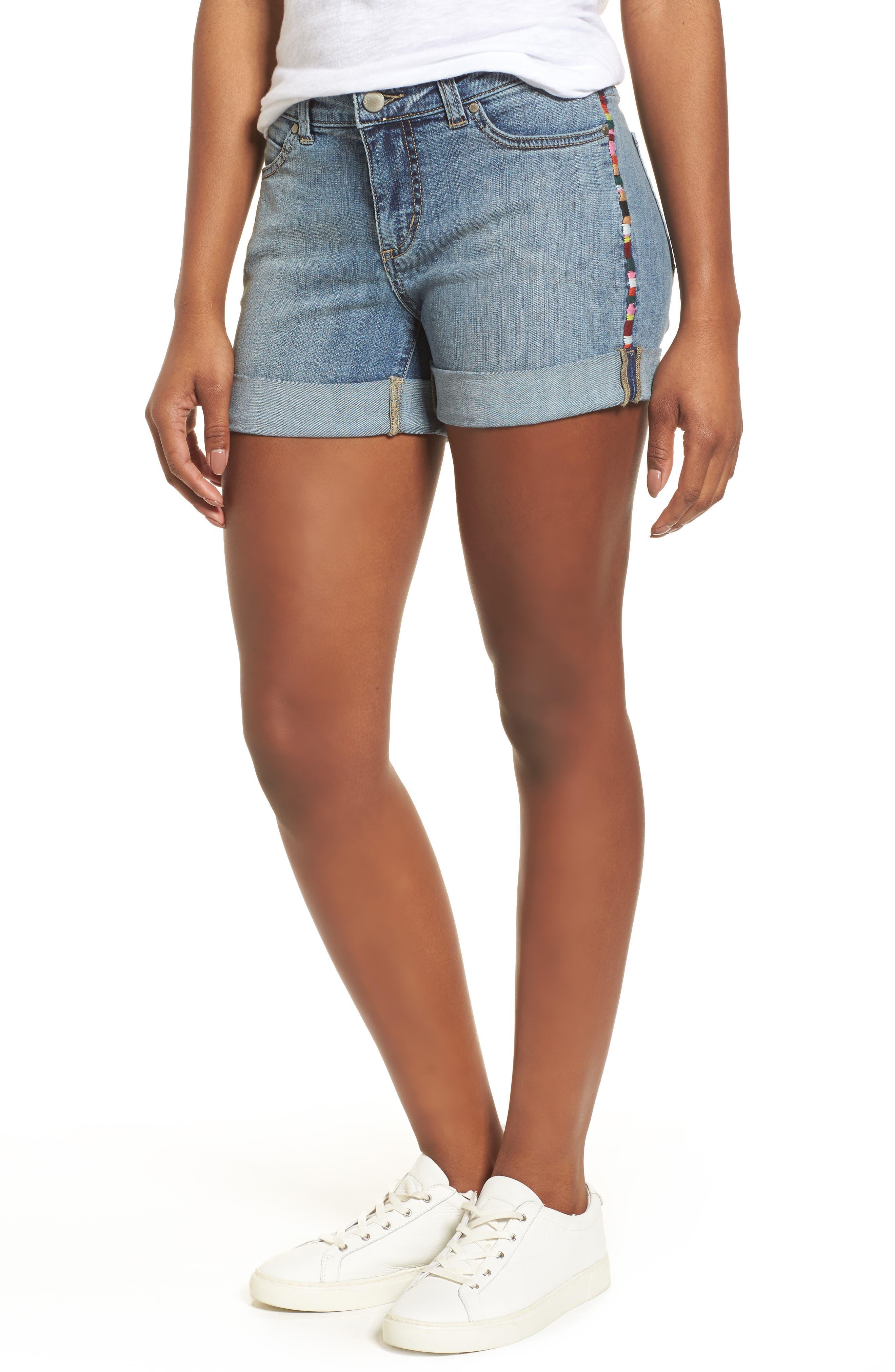 Embroidered Seam Boyfriend Denim Shorts,                         Main,                         color, Sunspot Wash