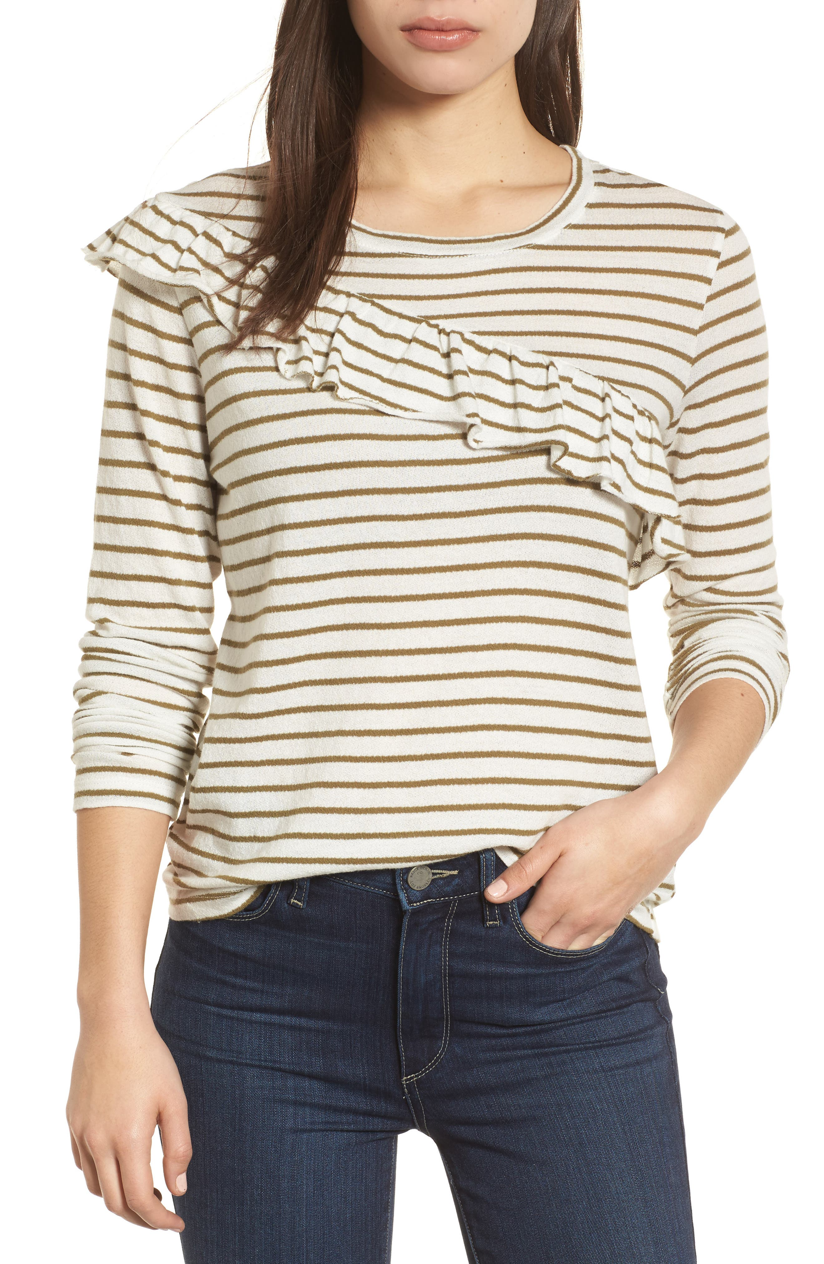 Stripe Asymmetrical Ruffle Top,                         Main,                         color, Olive Stripe