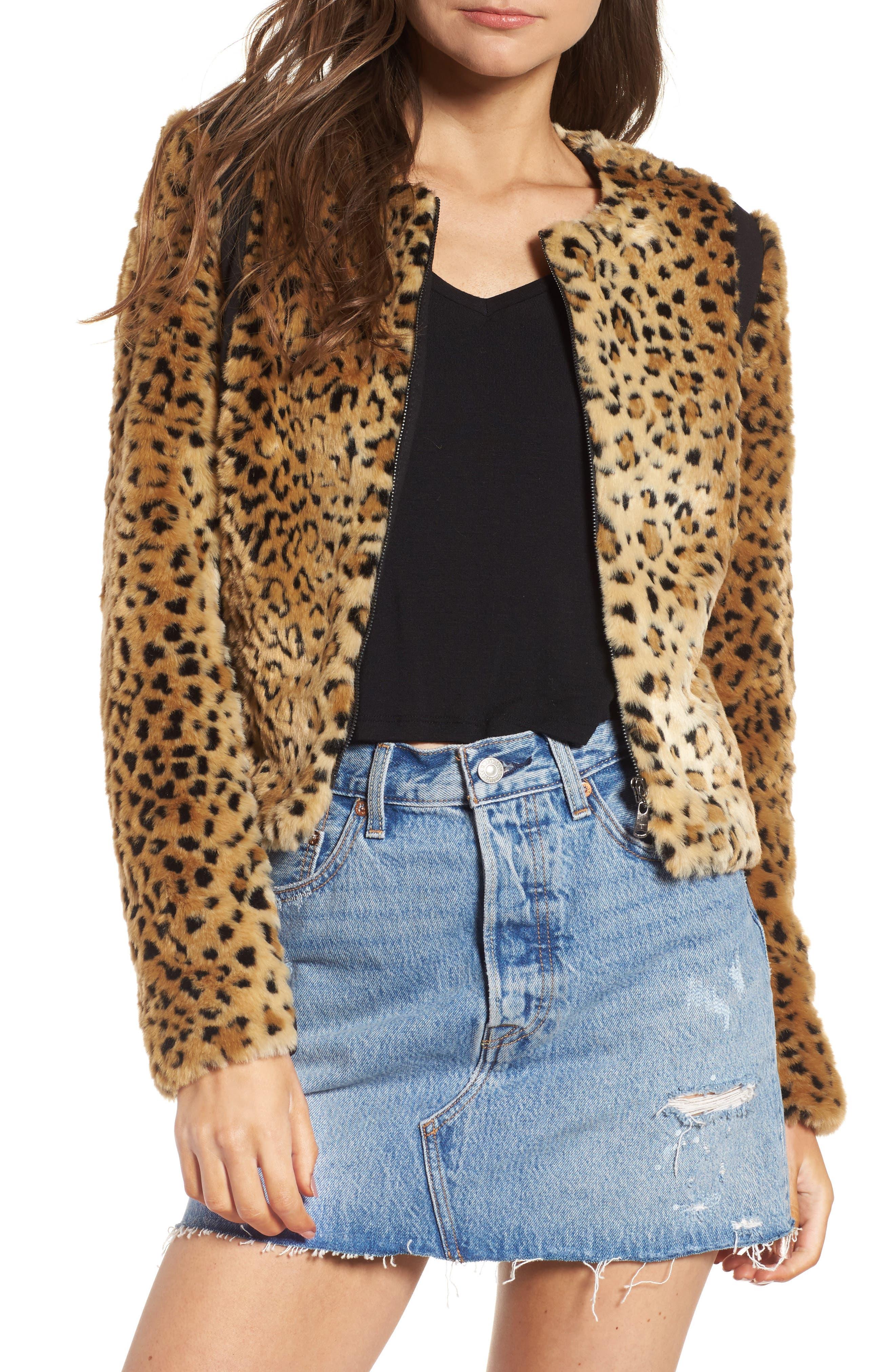 Faux Fur Leopard Jacket,                             Main thumbnail 1, color,                             Beige/ Black