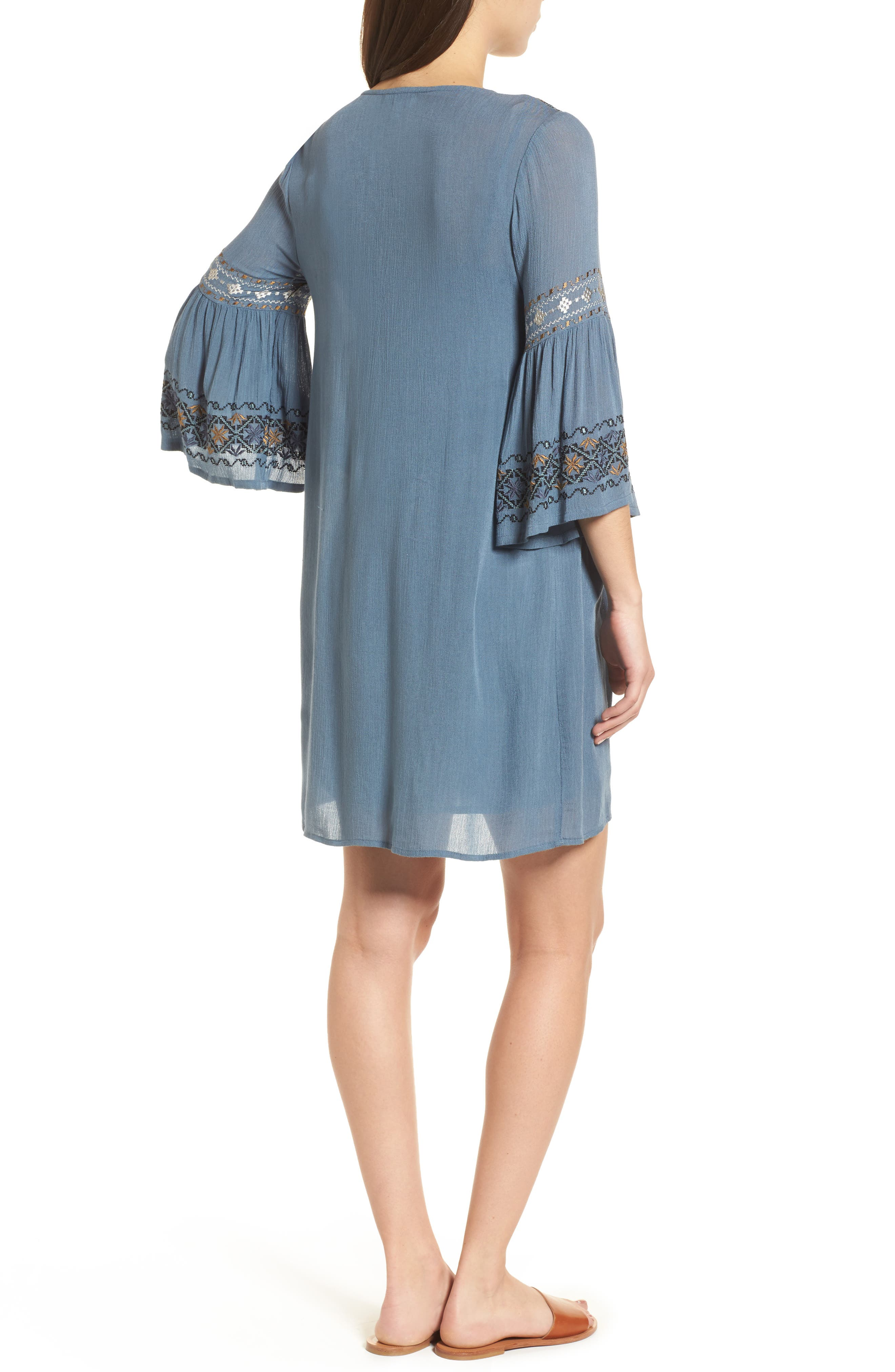 Embroidered Bell Sleeve Dress,                             Alternate thumbnail 2, color,                             China Blue