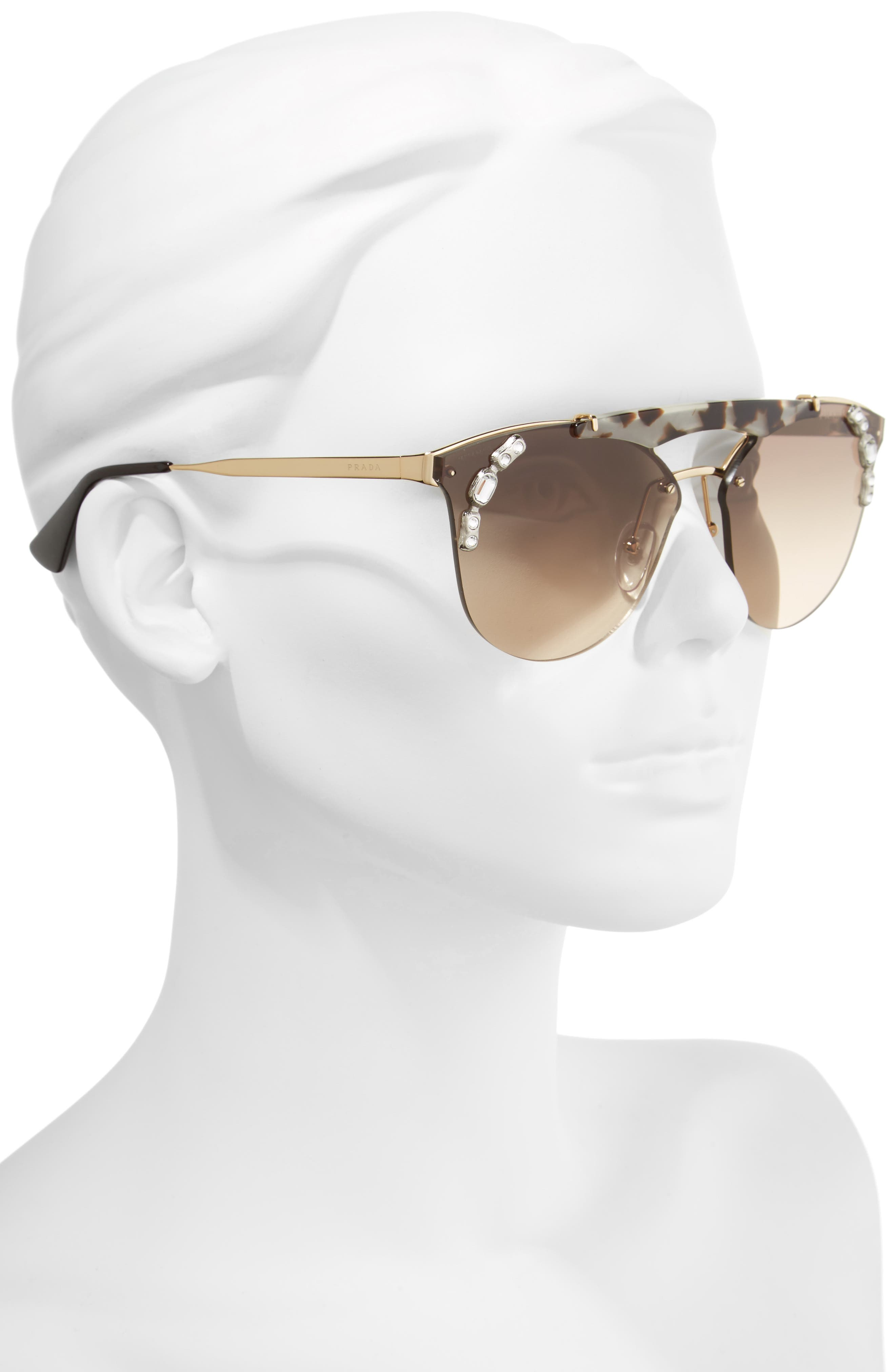 53mm Embellished Rimless Sunglasses,                             Alternate thumbnail 2, color,                             Gold/ Brown